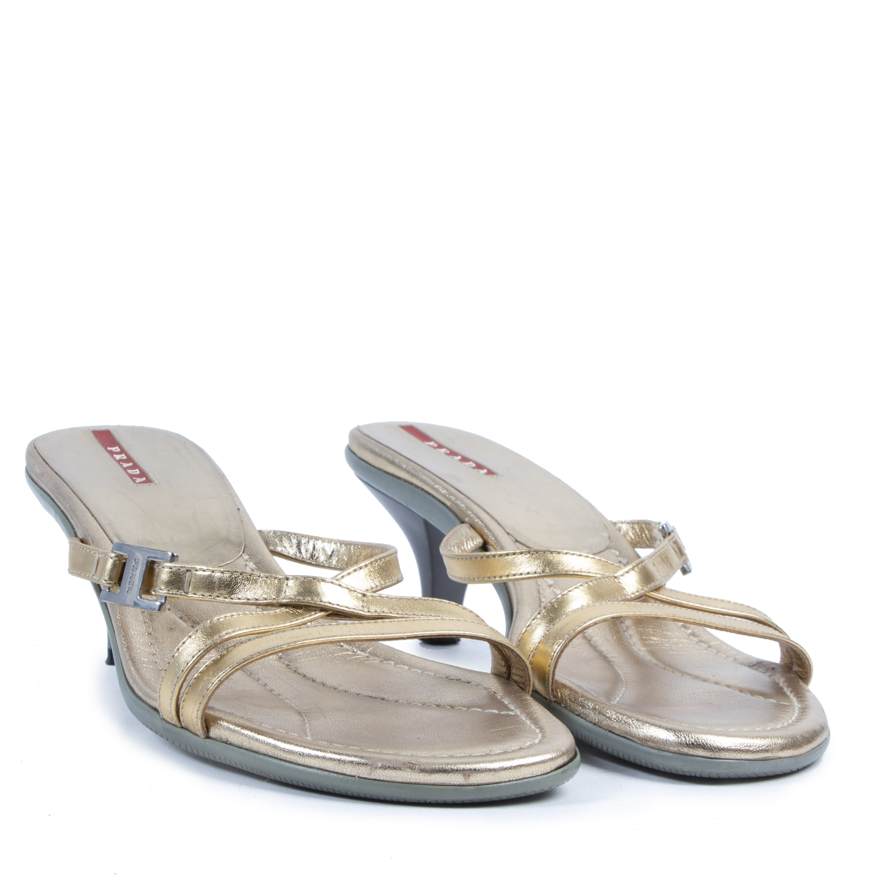 Authentic secondhand Prada Gold Strappy Kitten Heels - Size 40 designer bags fashion luxury vintage webshop safe secure online shopping Antwerp