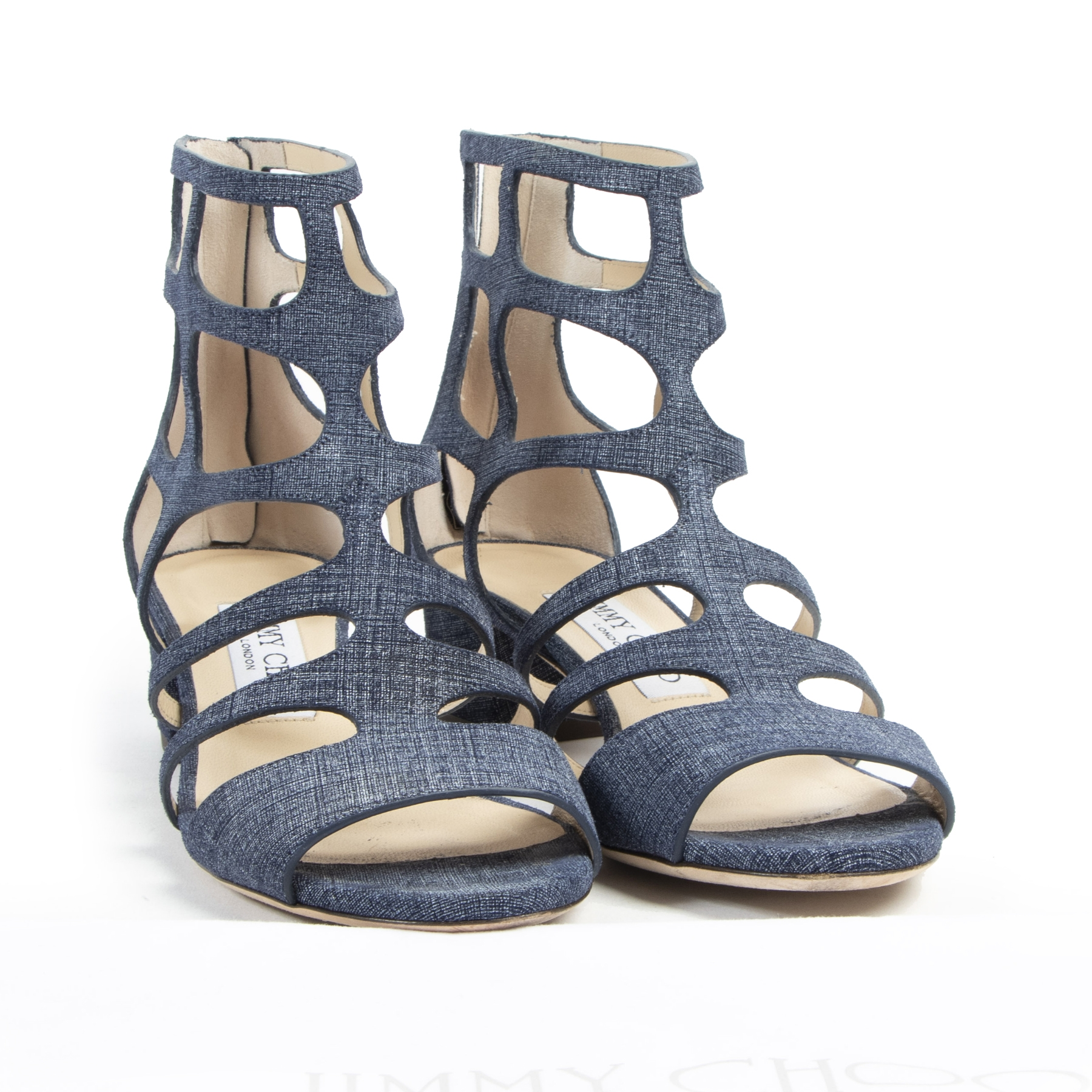 Authentic secondhand Jimmy Choo Ren 35 Denim Sandals - Size 37 designer bags shoes accessories fashion luxury vintage webshop safe secure online shopping