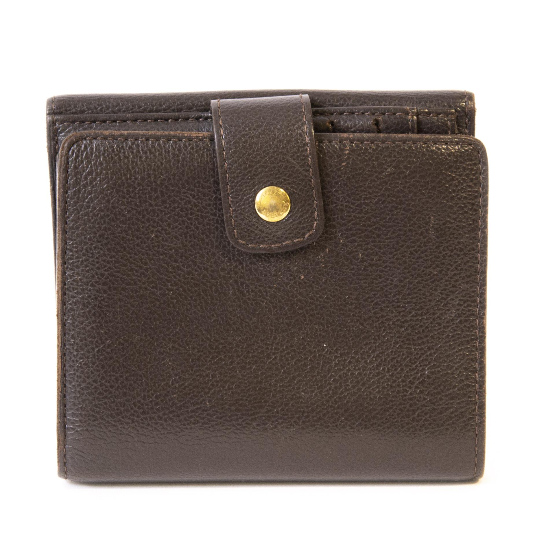 Authentieke Tweedehands Delvaux Dark Brown Wallet juiste prijs veilig online shoppen luxe merken webshop winkelen Antwerpen België mode fashion