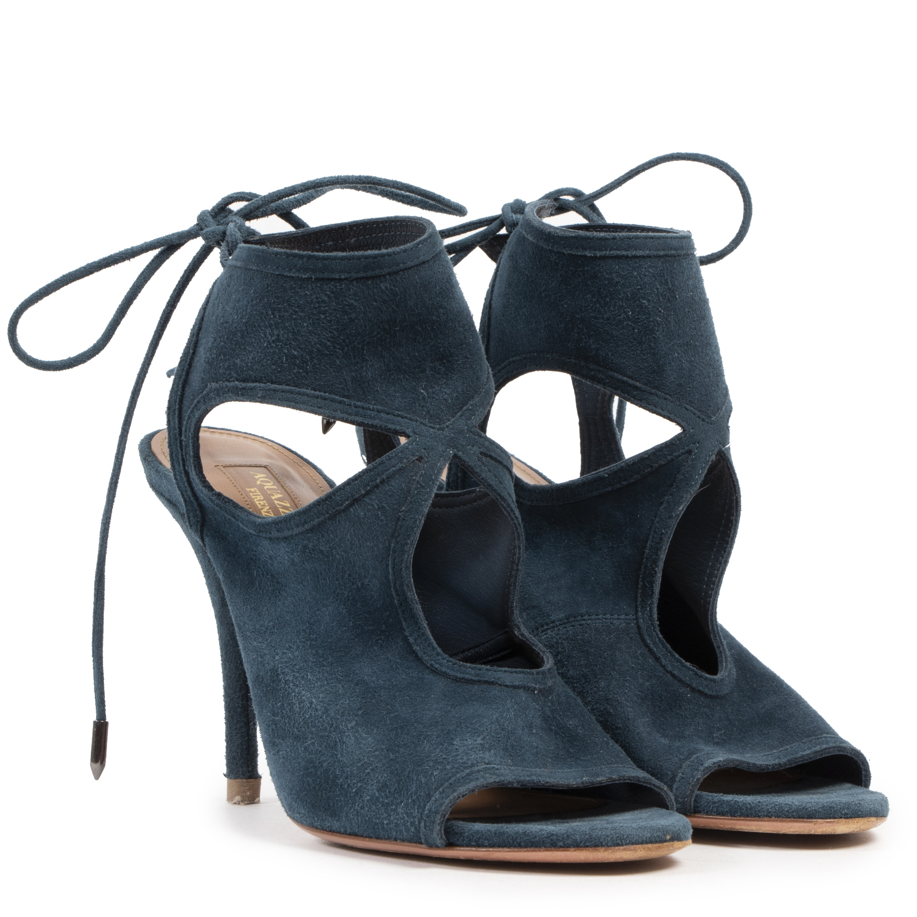 Authentic Secondhand Aquazzura Blue Sexy Thing Suede Heels - Size 38 designer shoes accessories designer high end brands fashion luxury vintage webshop safe secure online shopping