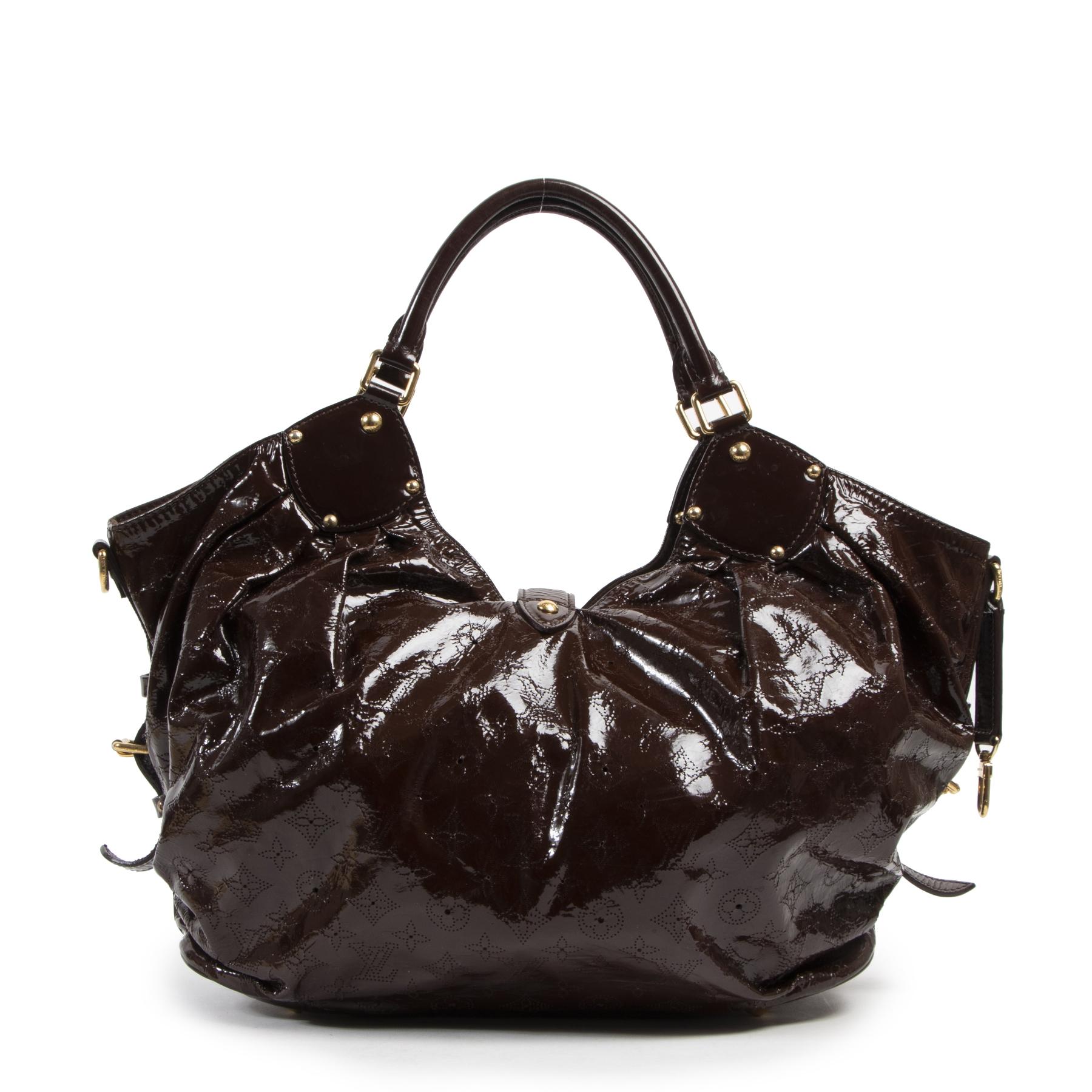Authentic secondhand Louis Vuitton Brown Vernis Surya XL Bag designer bags fashion luxury vintage webshop safe secure online shopping designer high end brands