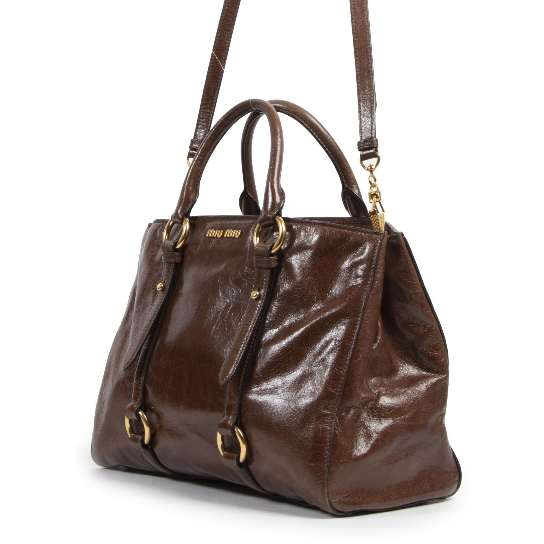 Authentic secondhand Miu Miu Vitello Shine Brown Leather Satchel designer bags fashion luxury vintage webshop safe secure online shopping designer high end brands leather bags