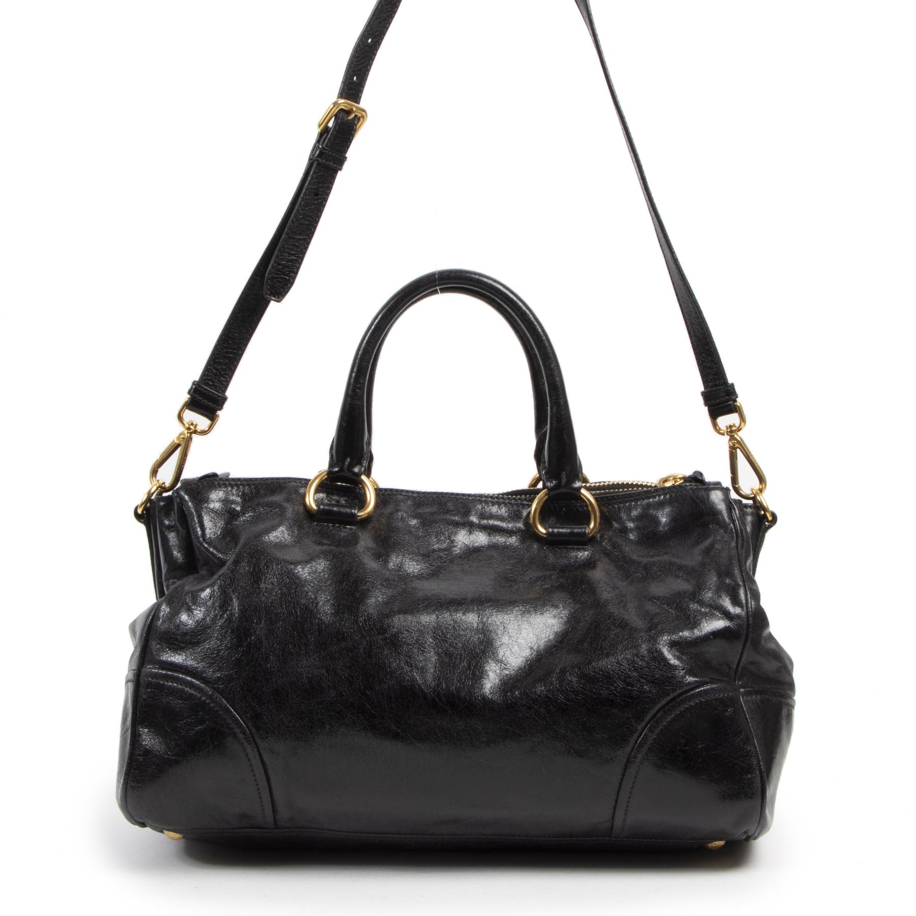 Authentieke Tweedehands Prada Vitello Shine Black Patent Leather Satchel juiste prijs veilig online shoppen luxe merken webshop winkelen Antwerpen België mode fashion