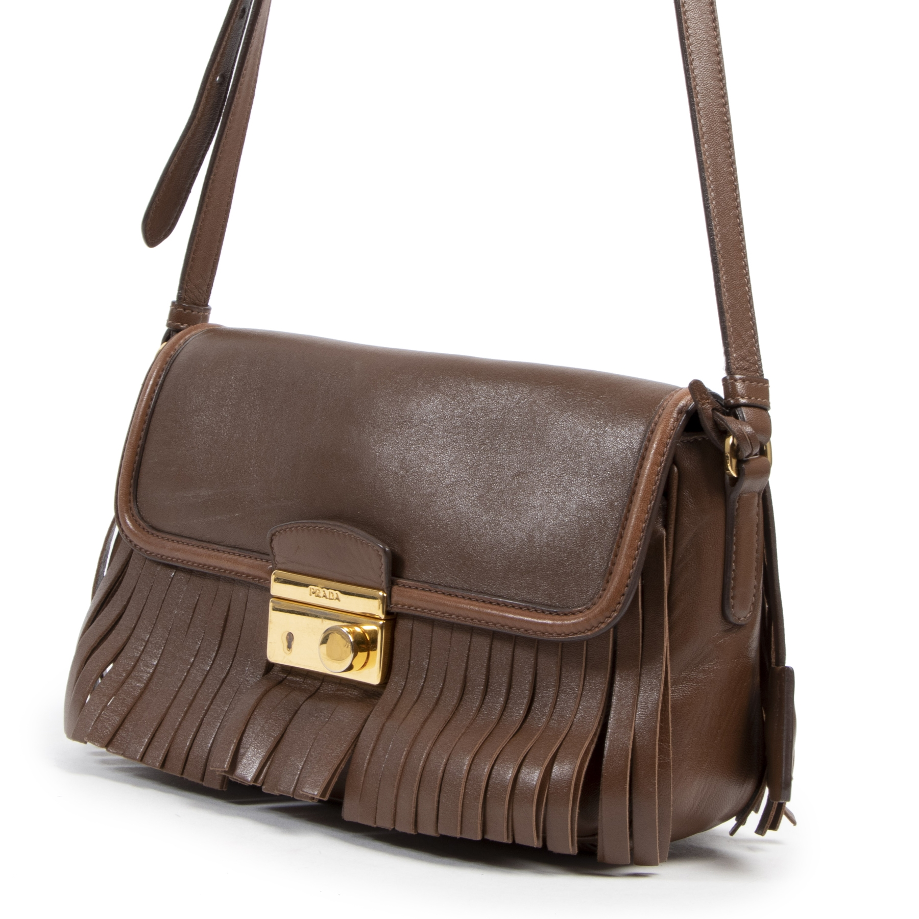 Authentic secondhand Prada Brown Fringe Crossbody Bag designer bags fashion luxury vintage webshop safe secure online shopping designer high end brands