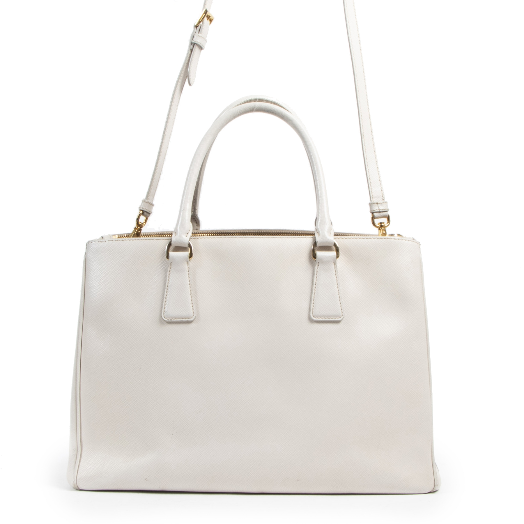 Authentic secondhand Prada White Saffiano Tote Bag designer bags fashion luxury vintage webshop safe secure online shopping designer high end brands