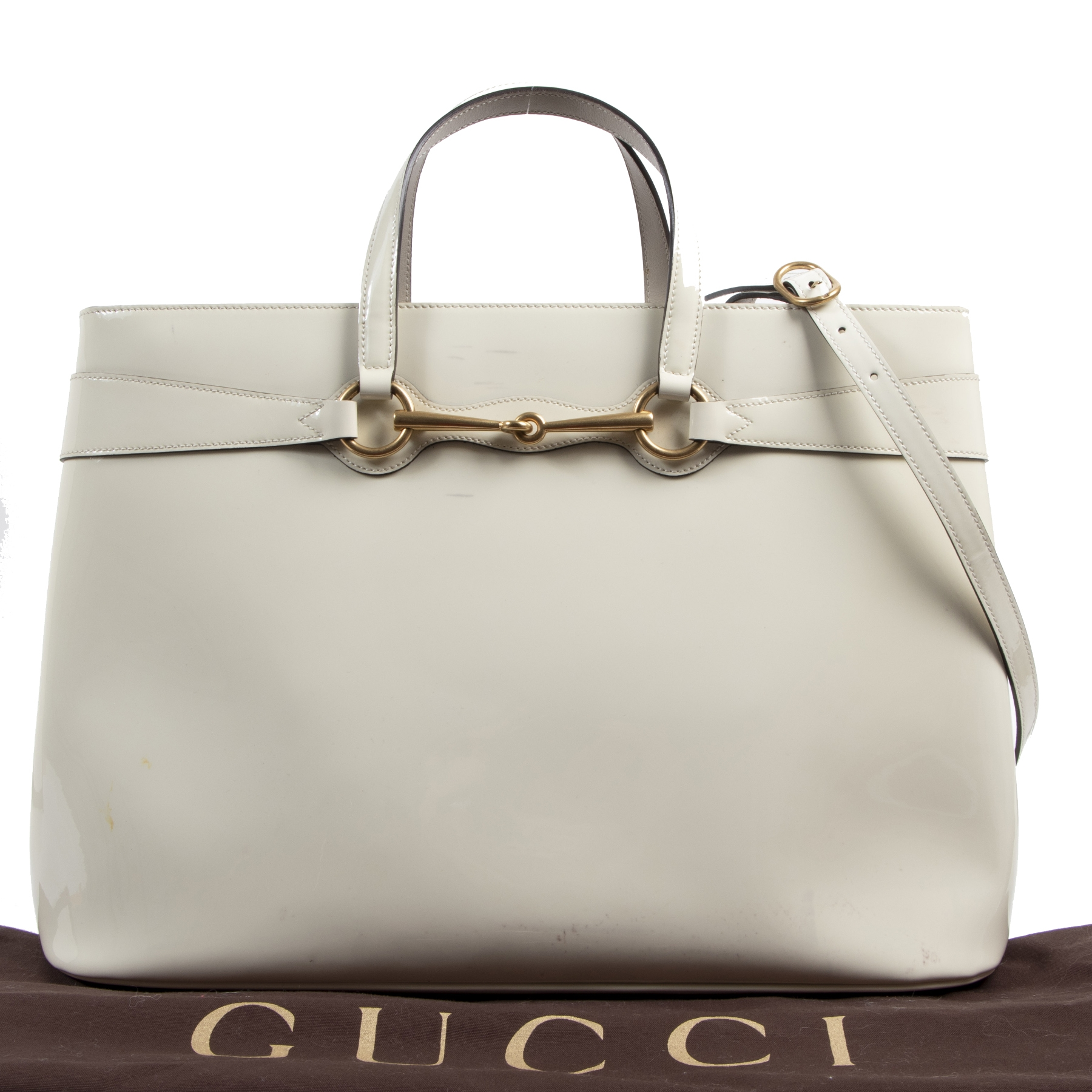 Authentieke tweedehands vintage Gucci White Horsebit Convertible Bag koop online webshop LabelLOV
