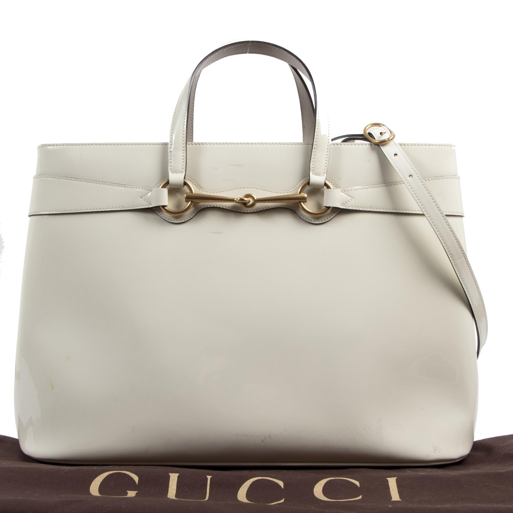 Authentieke tweedehands vintage Gucci White Horsebit Convertible Bag koop online webshop LabelLOV