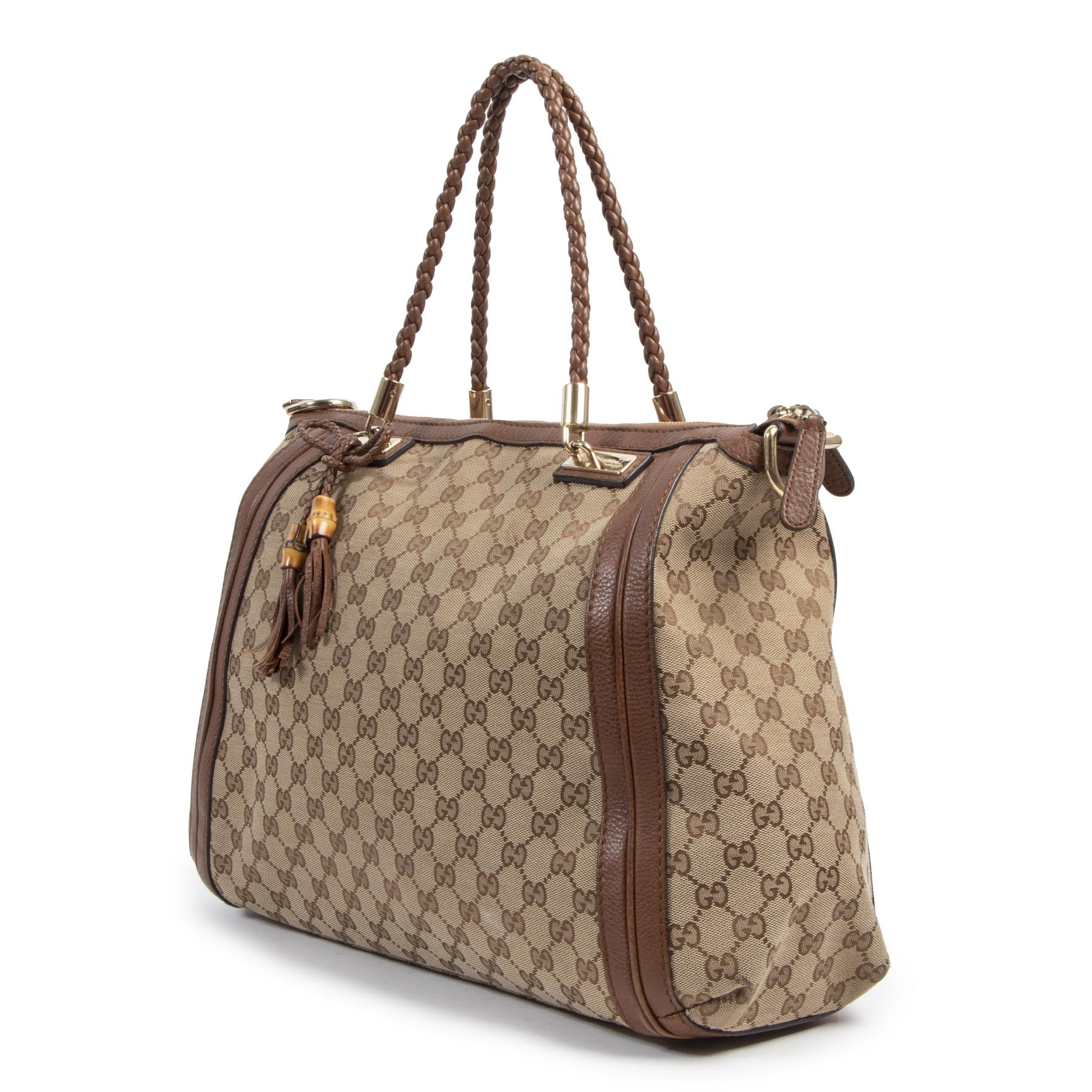 Authentieke Tweedehands Gucci Bella Monogram Canvas Tote Satchel Bag juiste prijs veilig online shoppen luxe merken webshop winkelen Antwerpen België mode fashion