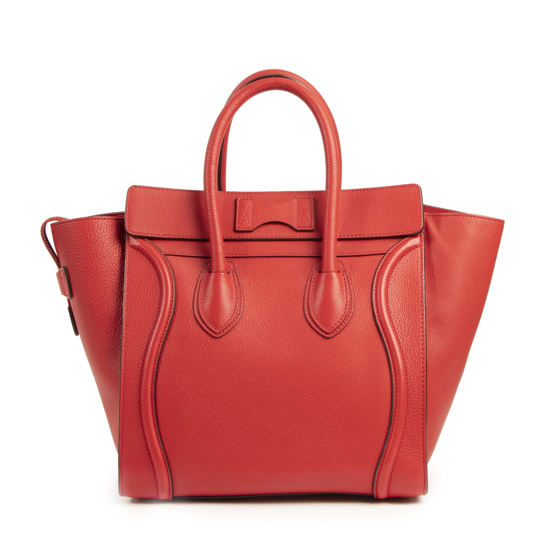 Authentieke Tweedehands Céline Mini Red Luggage Bag juiste prijs veilig online shoppen luxe merken webshop winkelen Antwerpen België mode fashion