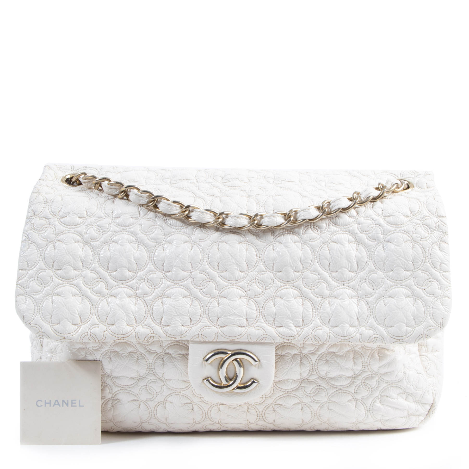 Are you looking for an authentic designer Chanel White Vinyl Rock in Moscow Jumbo Flap Bag