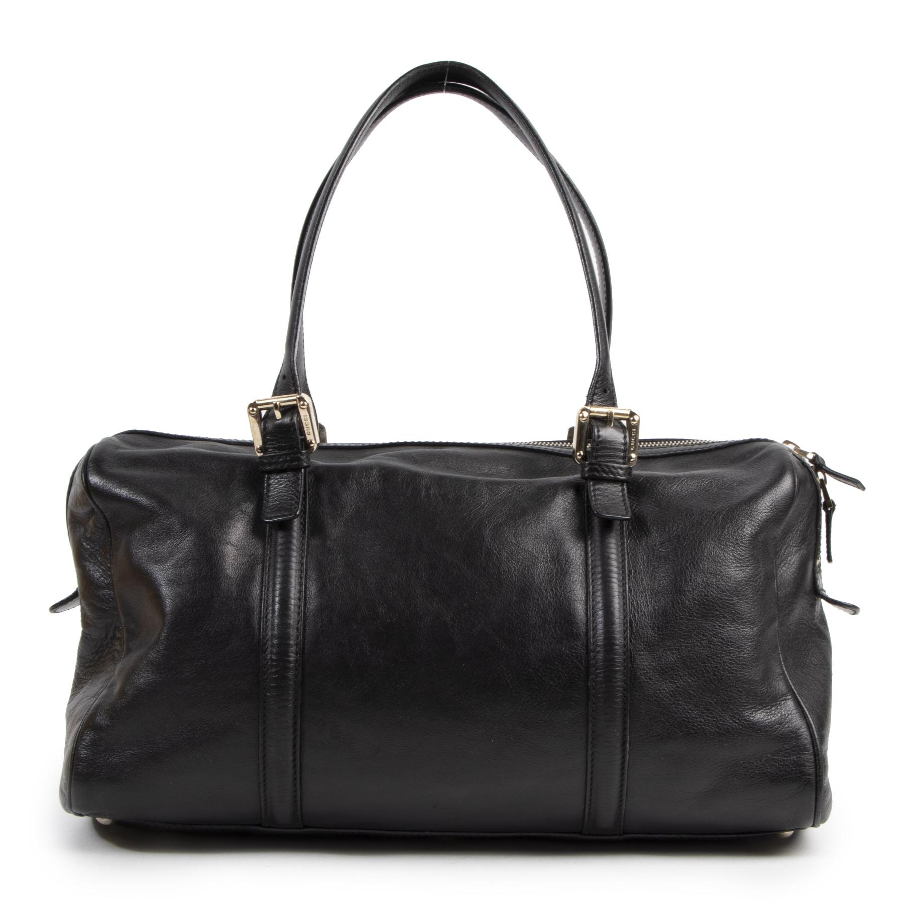 Authentic secondhand Gucci Black Leather Shoulder Bag designer bags fashion luxury vintage webshop safe secure online shopping