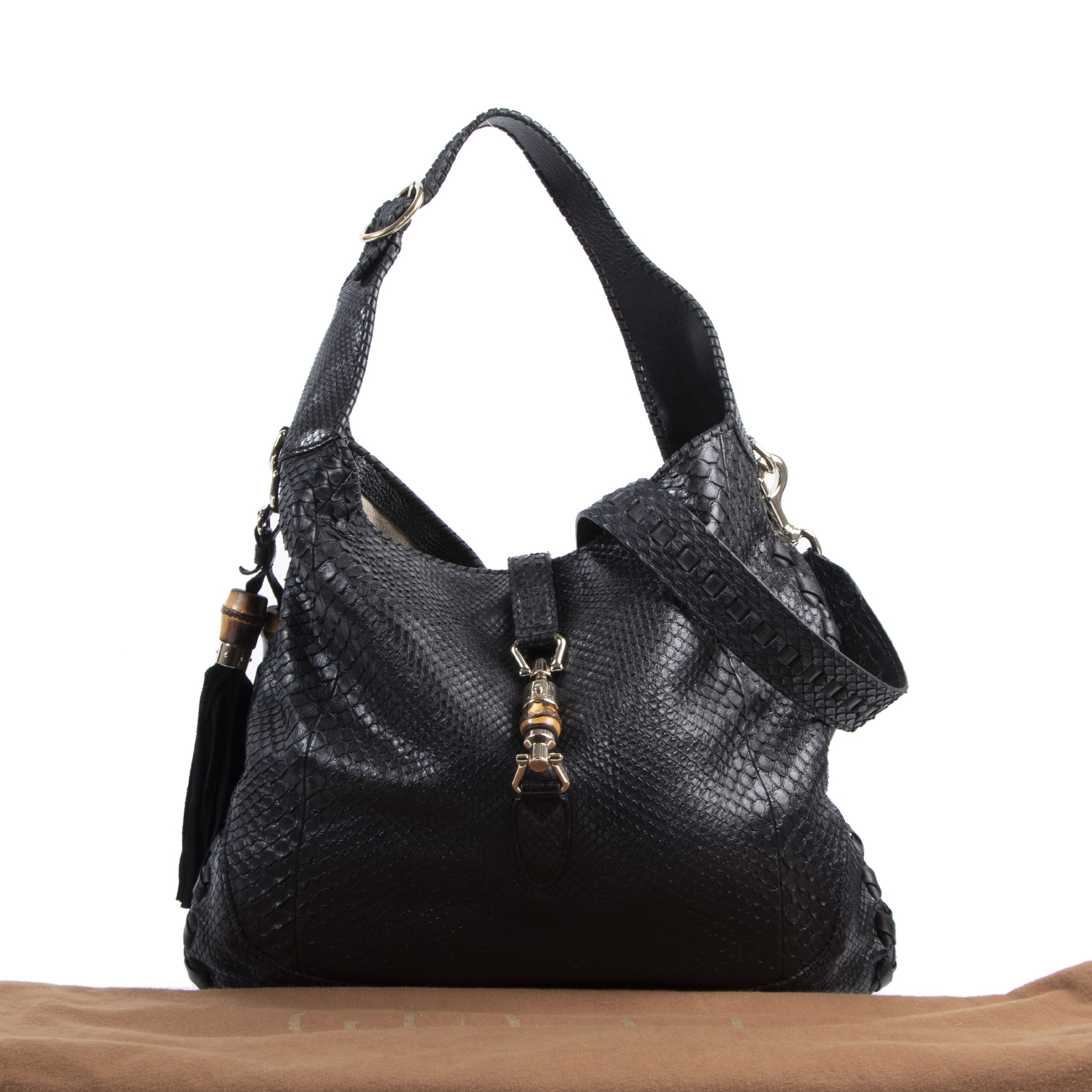 Authentic secondhand Gucci Black Python Jackie Hobo Leather Bag designer bags fashion luxury vintage webshop safe secure online shopping high end designer brands leather bags
