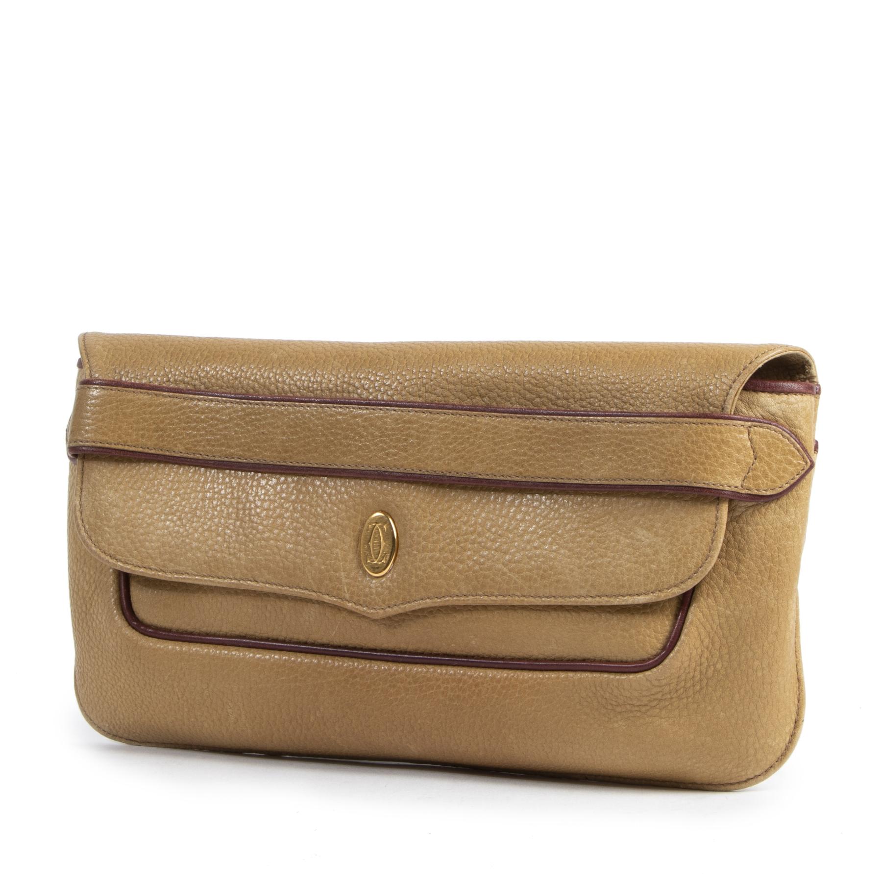 Authentieke Tweedehands Cartier Ochre Leather Clutch juiste prijs veilig online shoppen luxe merken webshop winkelen Antwerpen België mode fashion