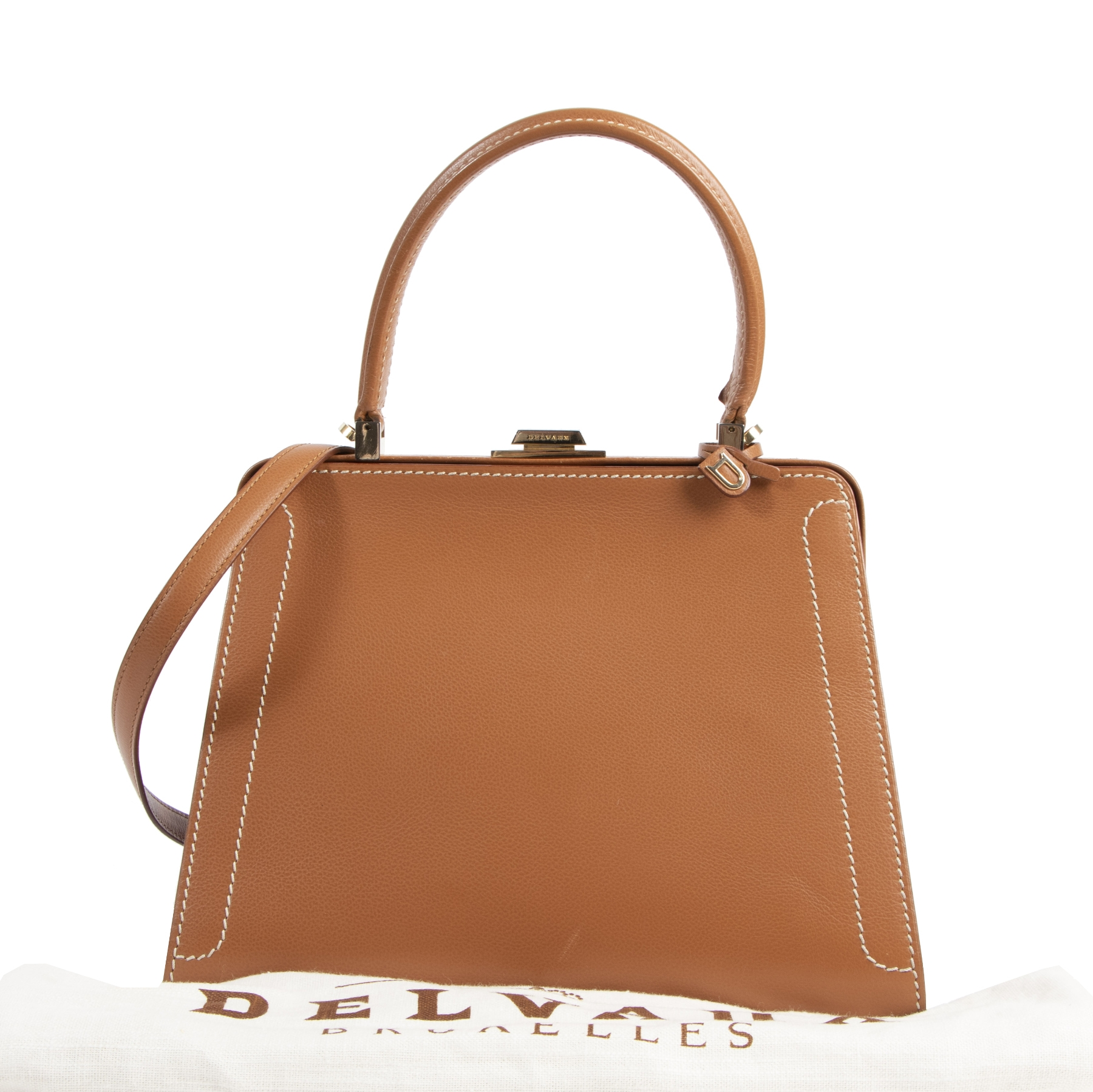 Authentic secondhand Delvaux Evasion Cognac Leather Top Handle designer bags fashion luxury vintage webshop safe secure online shopping