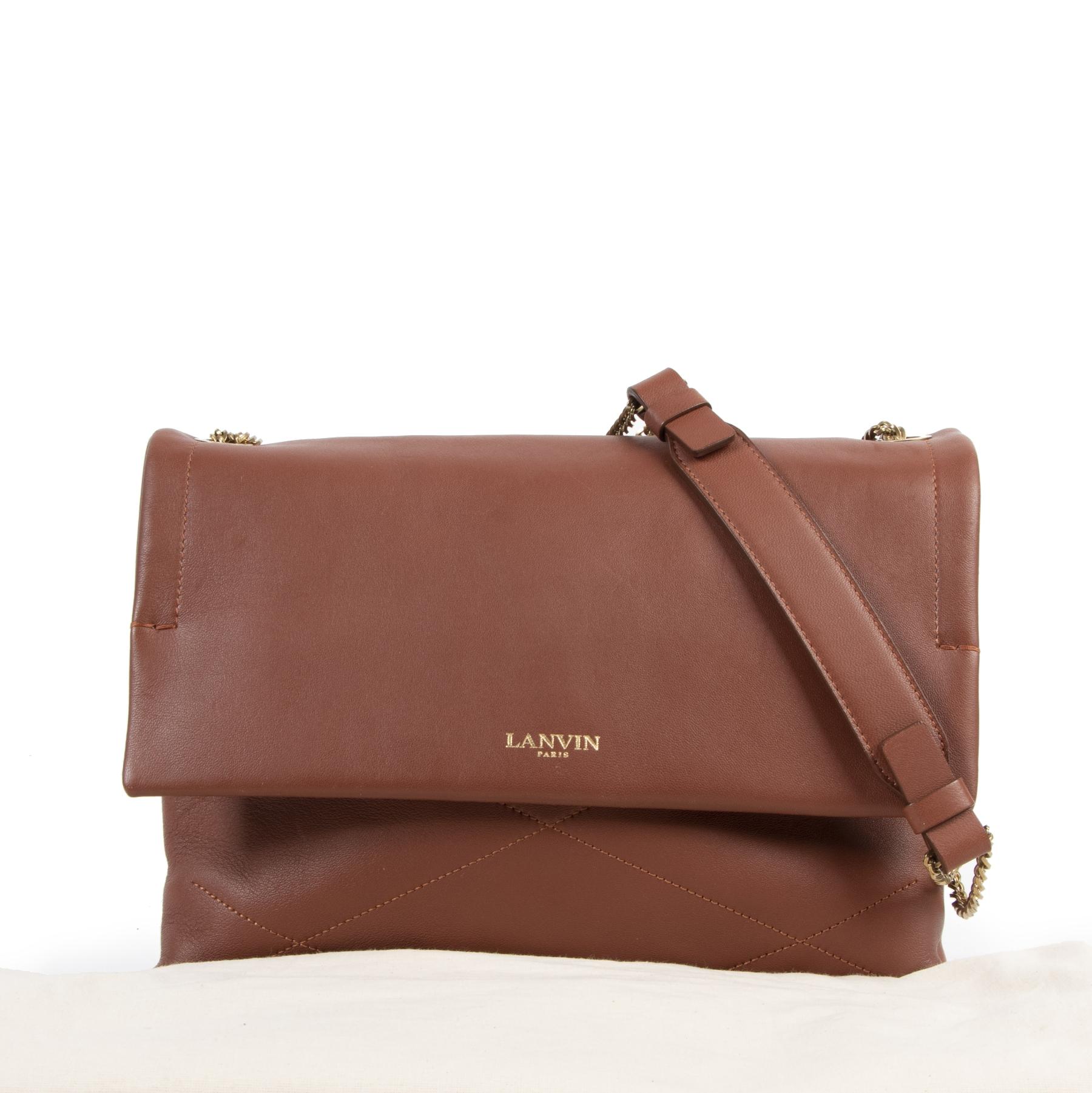 Authentic secondhand Lanvin Brown Sugar Shoulder Bag designer bags fashion luxury vintage webshop safe secure online shopping designer high end brands