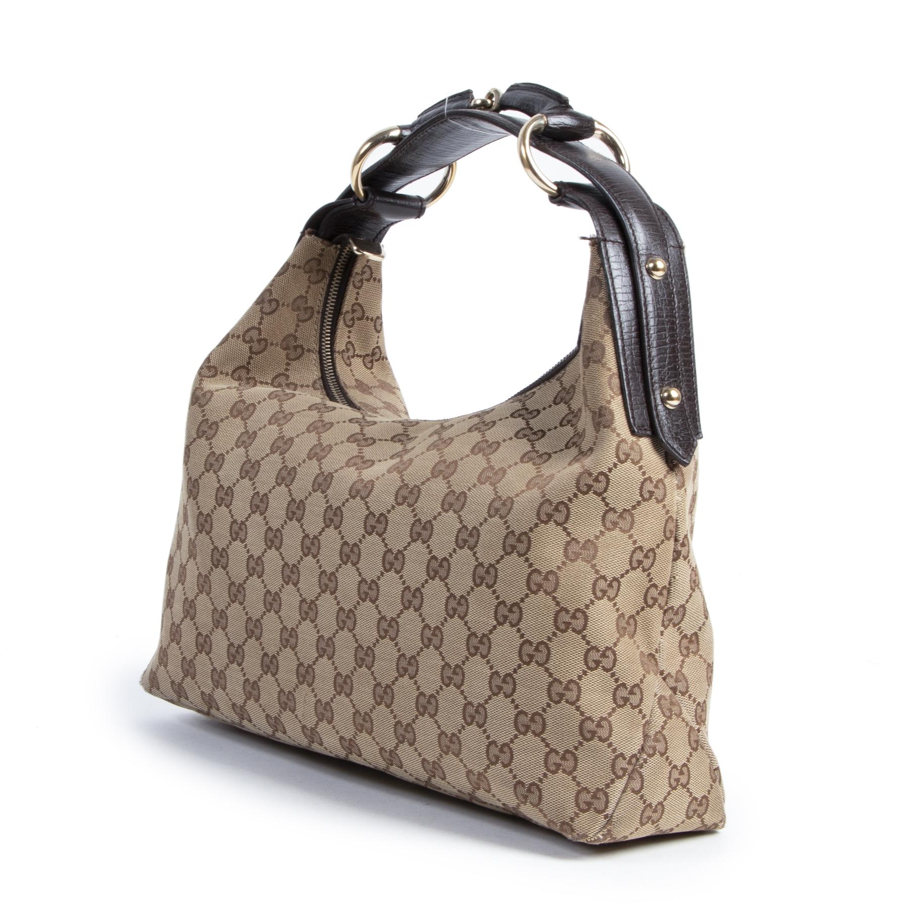 Authentieke Tweedehands Gucci Beige Monogram GG Shoulder Hobo Bag juiste prijs veilig online shoppen luxe merken webshop winkelen Antwerpen België mode fashion