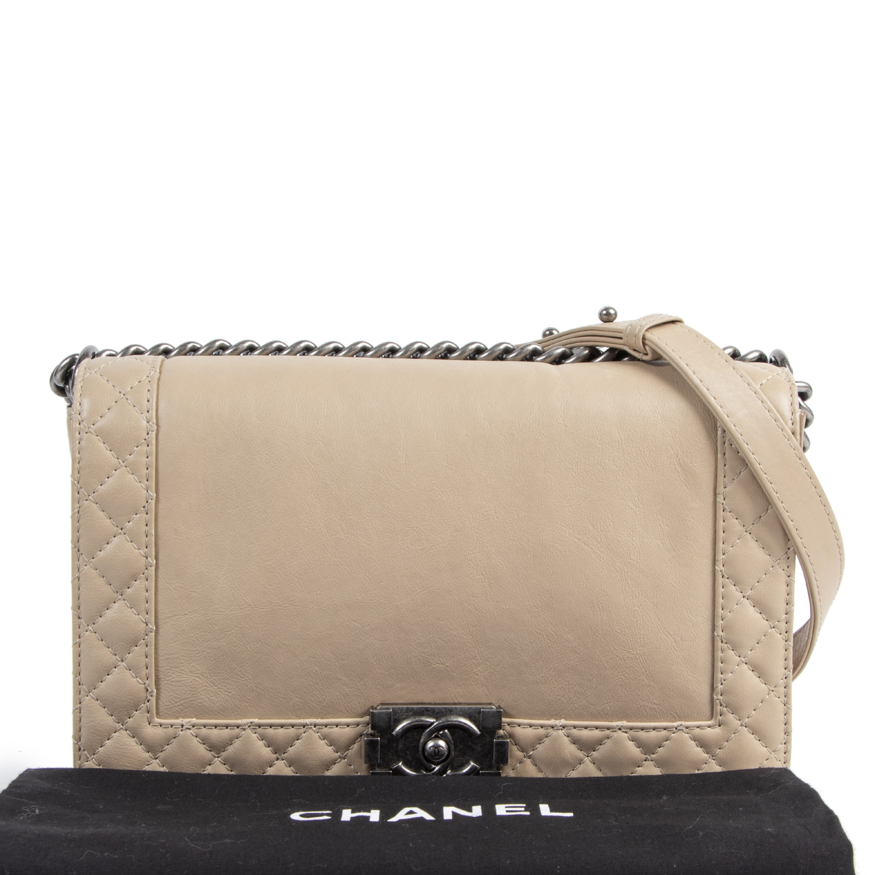 Authentic secondhand Chanel Beige New Medium Boy Reverso Calfskin Flap Bag designer bags fashion luxury vintage webshop safe secure online shopping designer high end brands