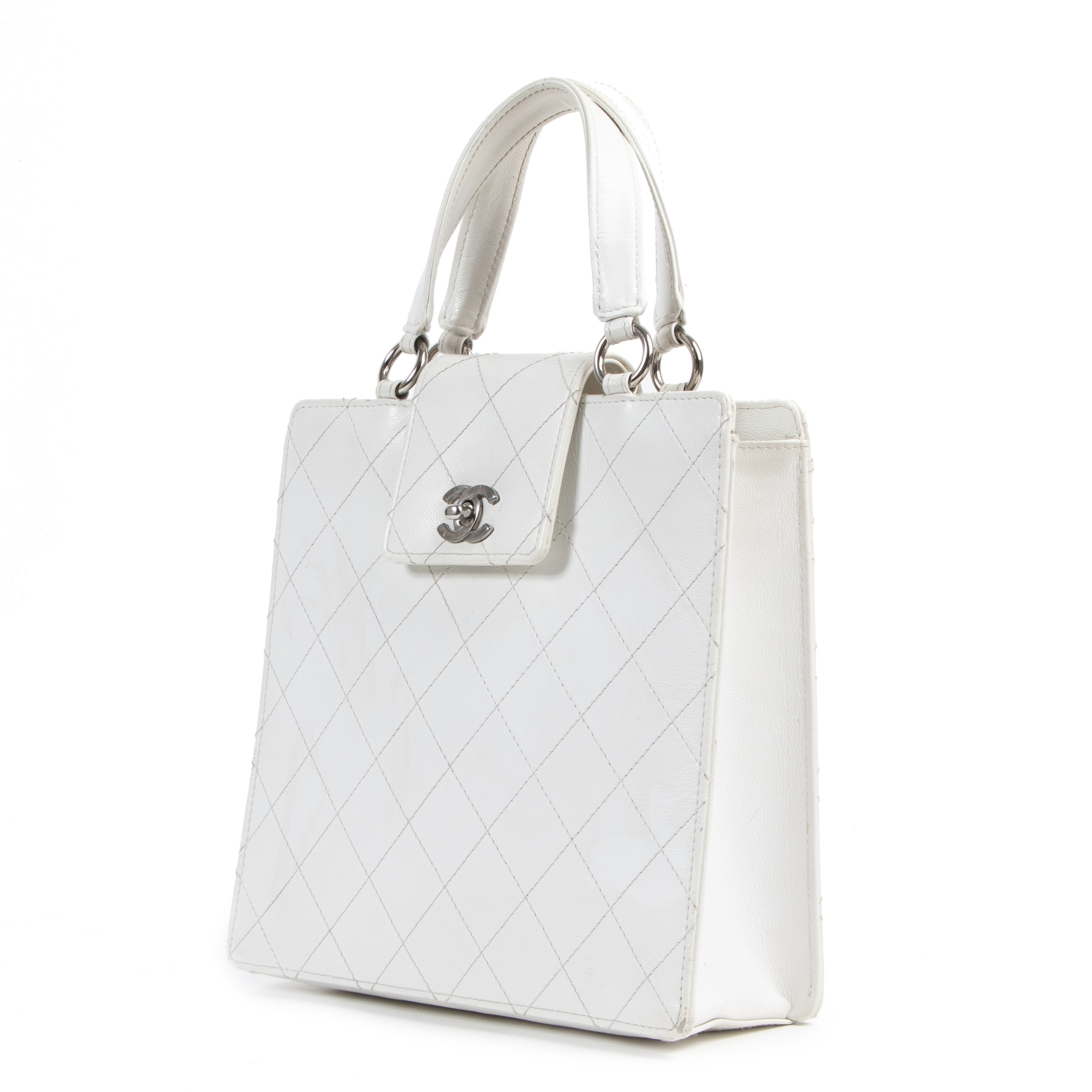 Chanel White Quilted Leather Bag