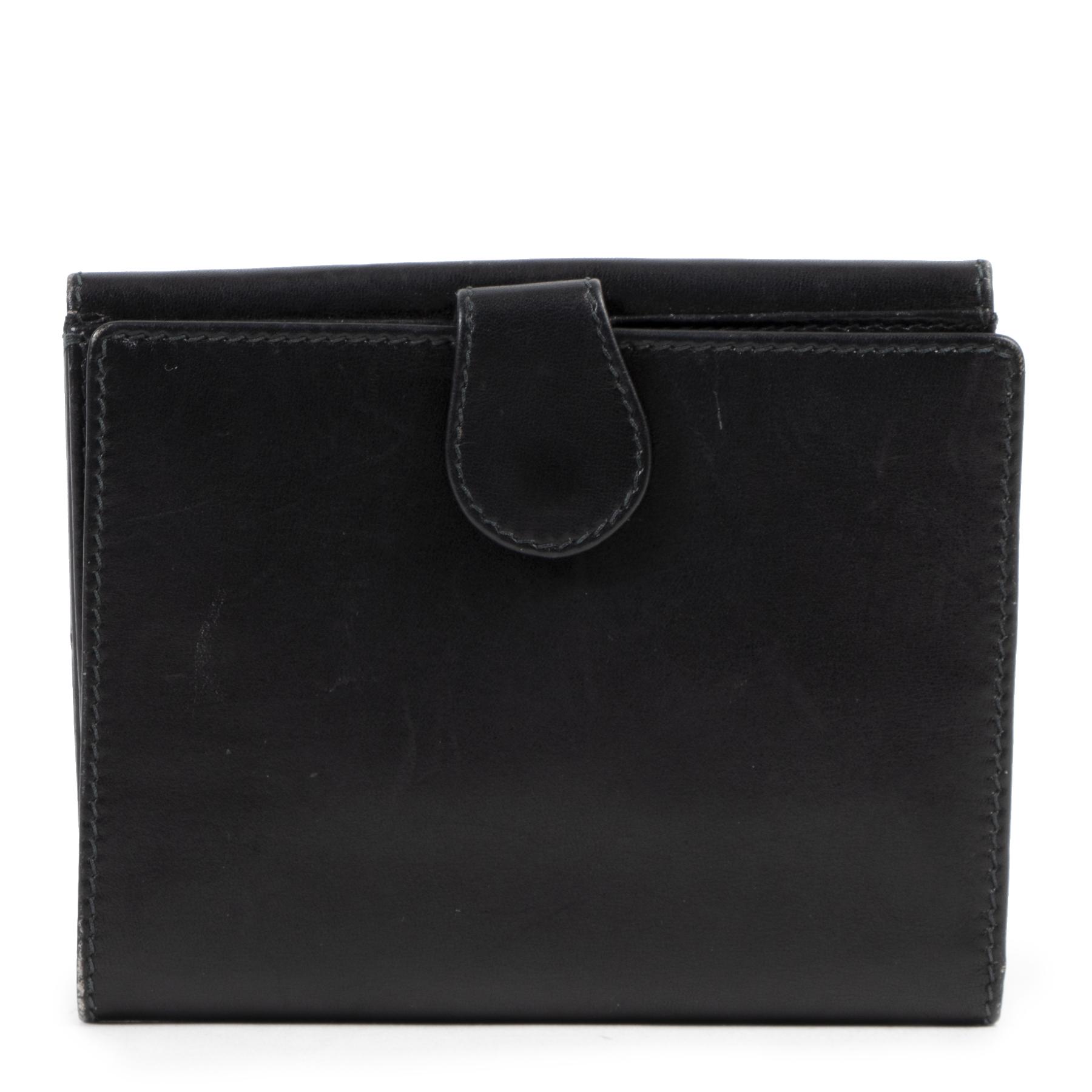 Authentieke Tweedehands Gucci Black Leather GG Wallet juiste prijs veilig online shoppen luxe merken webshop winkelen Antwerpen België mode fashion