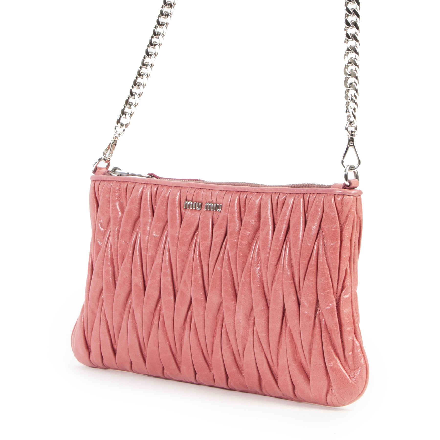 Miu Miu Pink Metalasse Crossbody Bag
