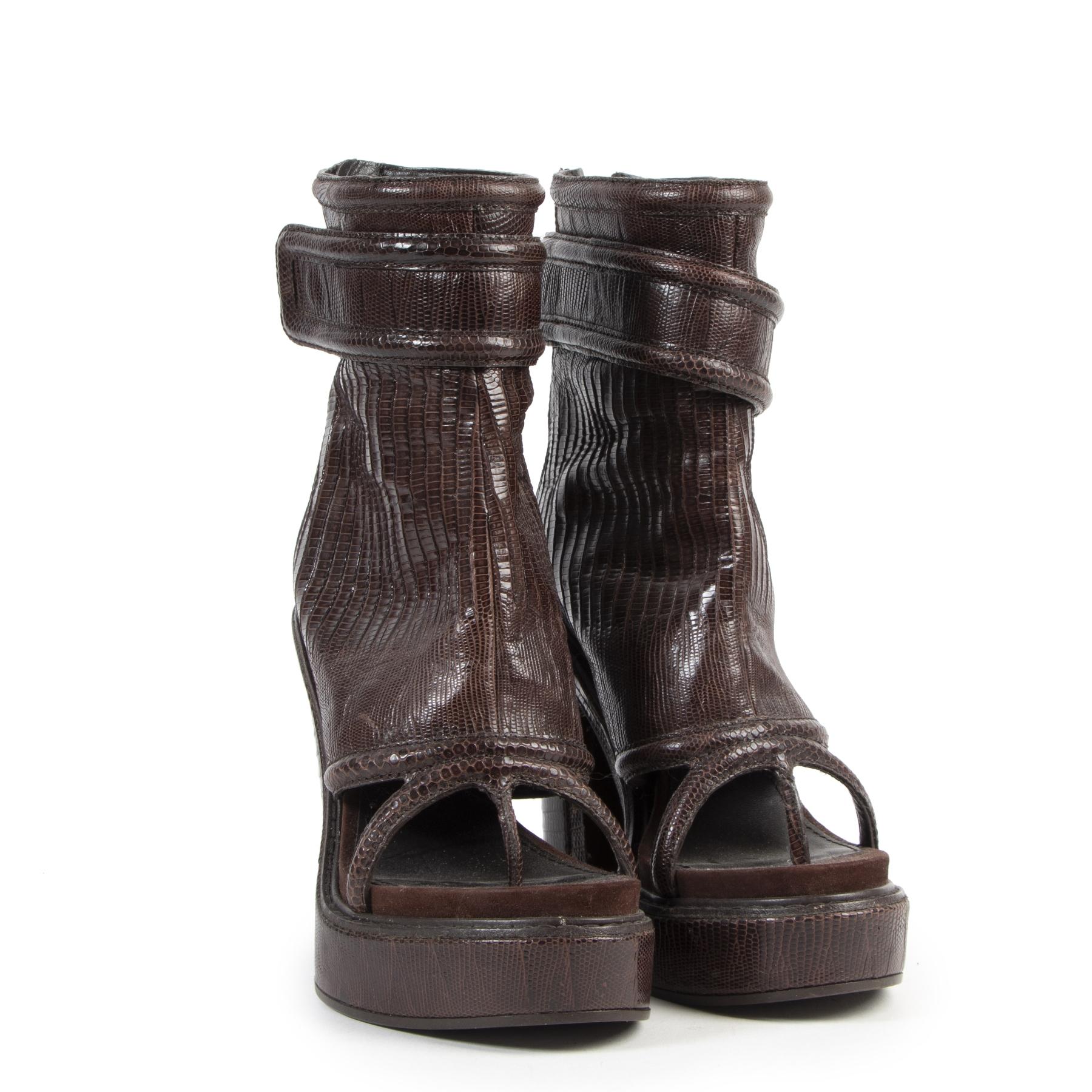 Authentieke Tweedehands Givenchy Brown Lizard Open Toe Boots - Size 40 juiste prijs veilig online shoppen luxe merken webshop winkelen Antwerpen België mode fashion