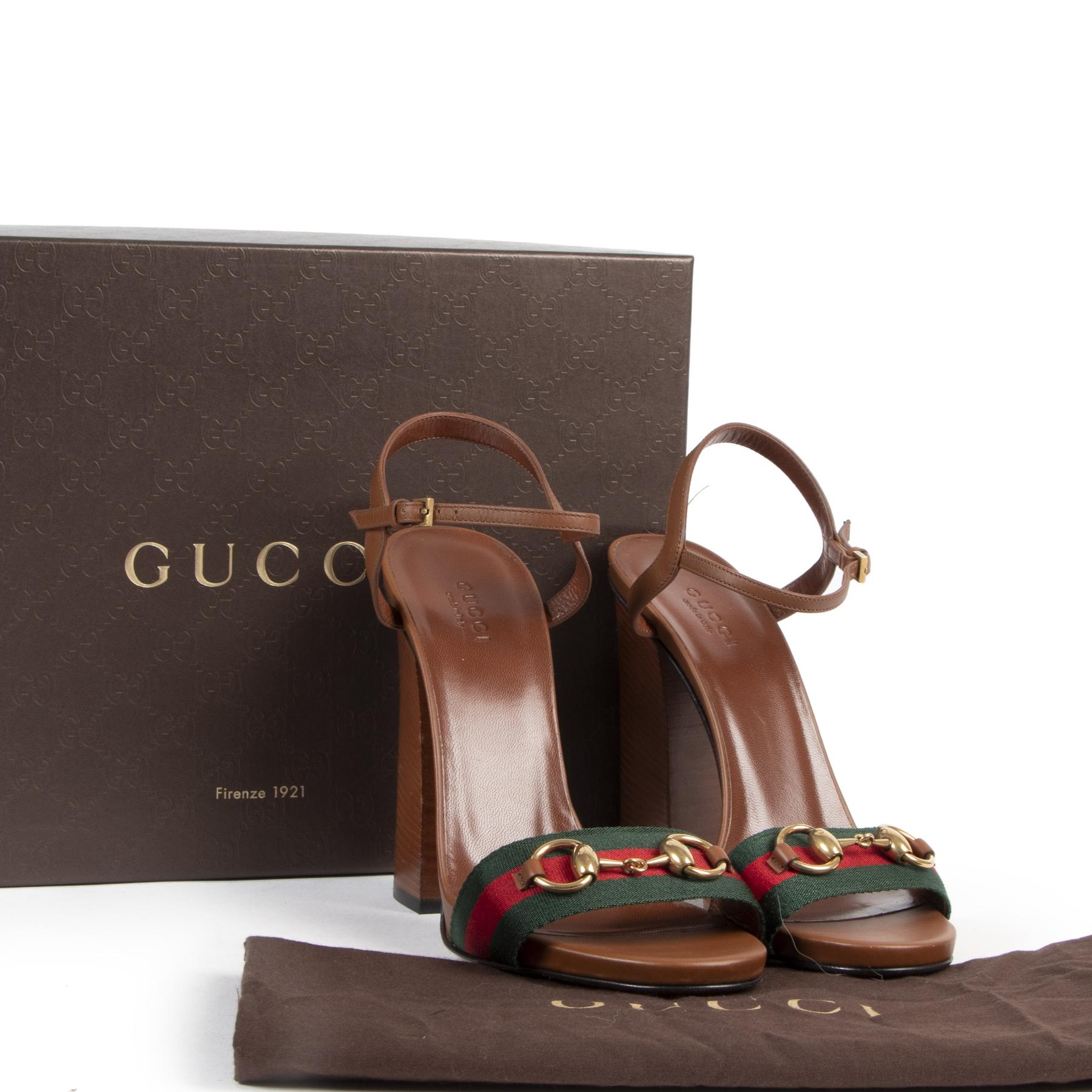 Authentieke tweedehands vintage Gucci Web Block Heel Sandals - Size 38 koop online webshop LabelLOV