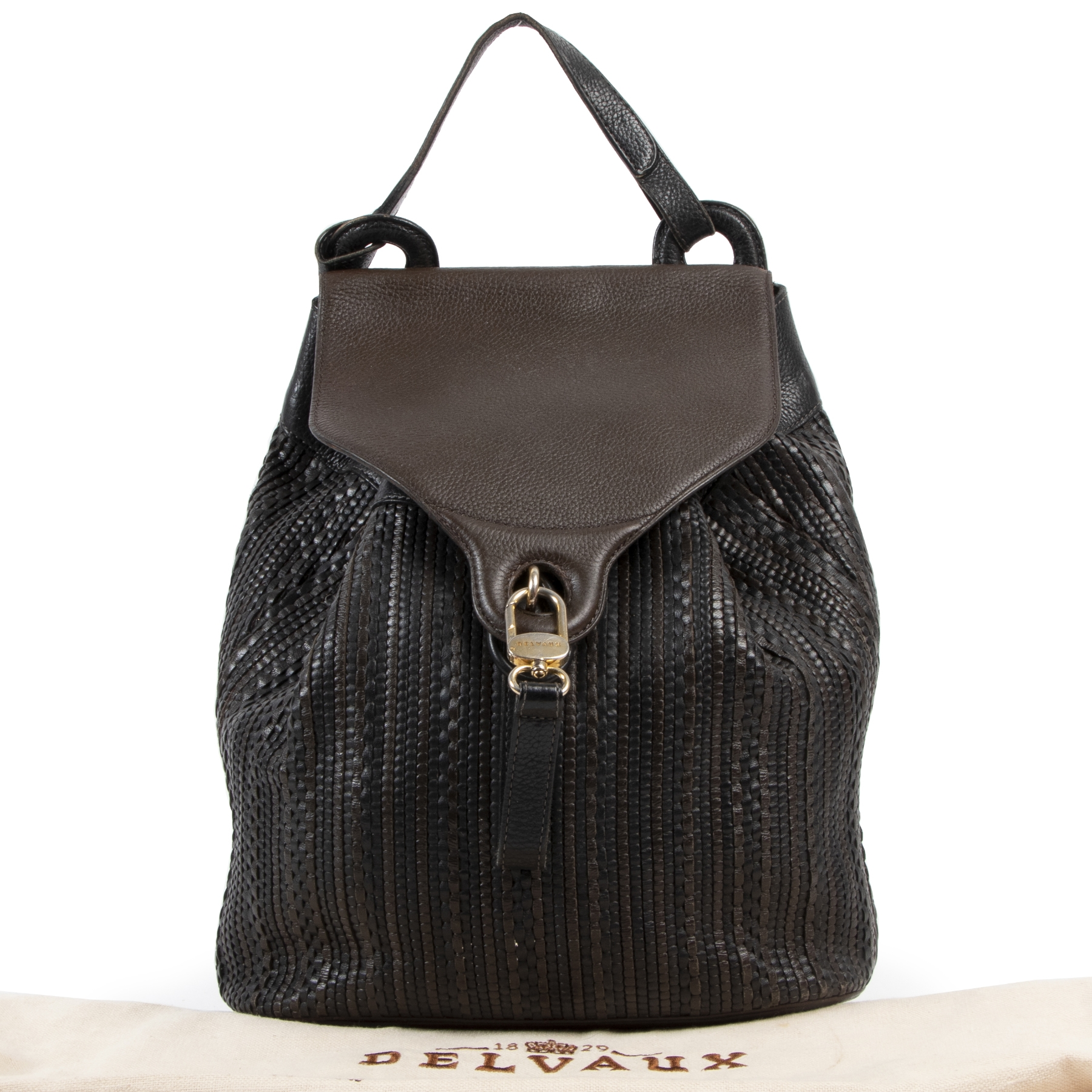 Delvaux Toile de Cuir Brown and Black Backpack for the best price at Labellov secondhand luxury