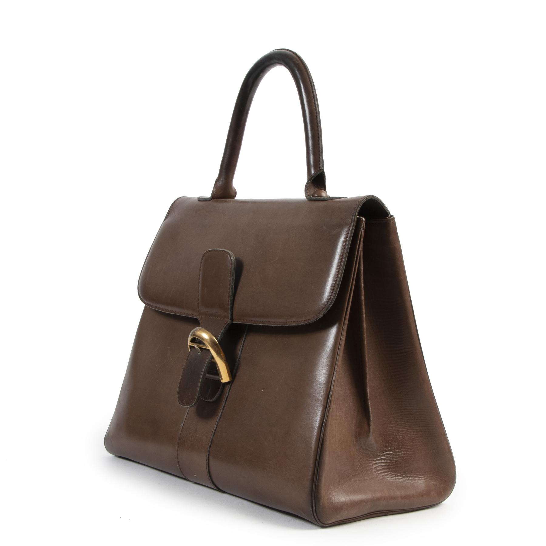 shop safe Delvaux Chestnut Brown Boxcalf Brillant Gm