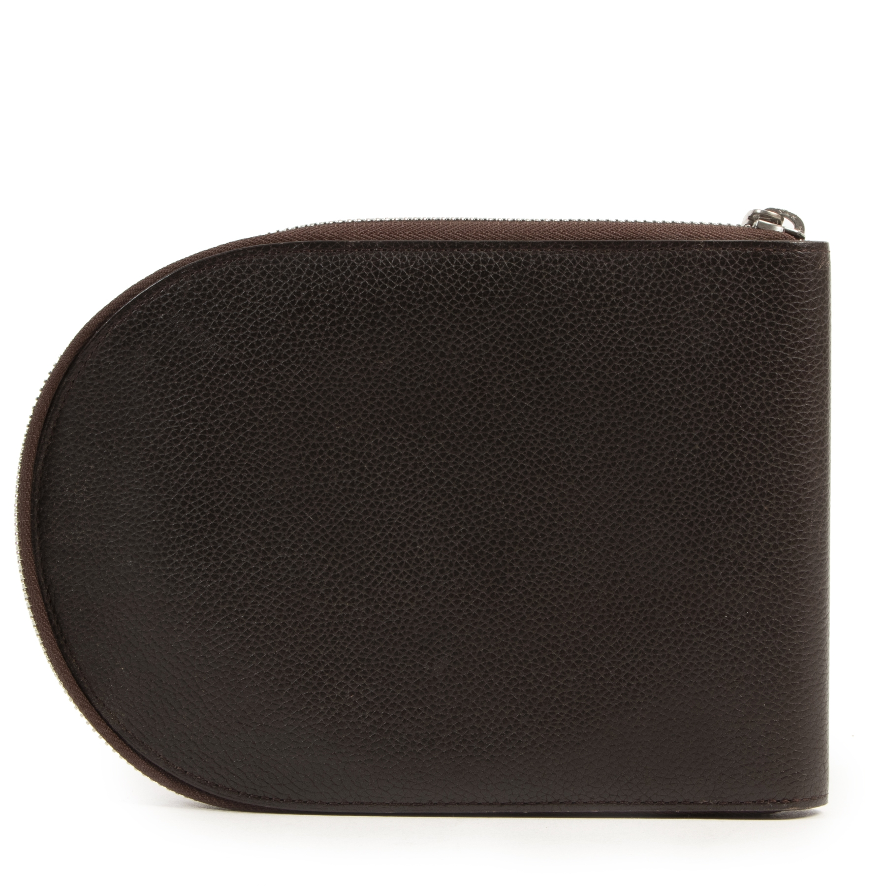 Delvaux Brown D Zip-around Pochette