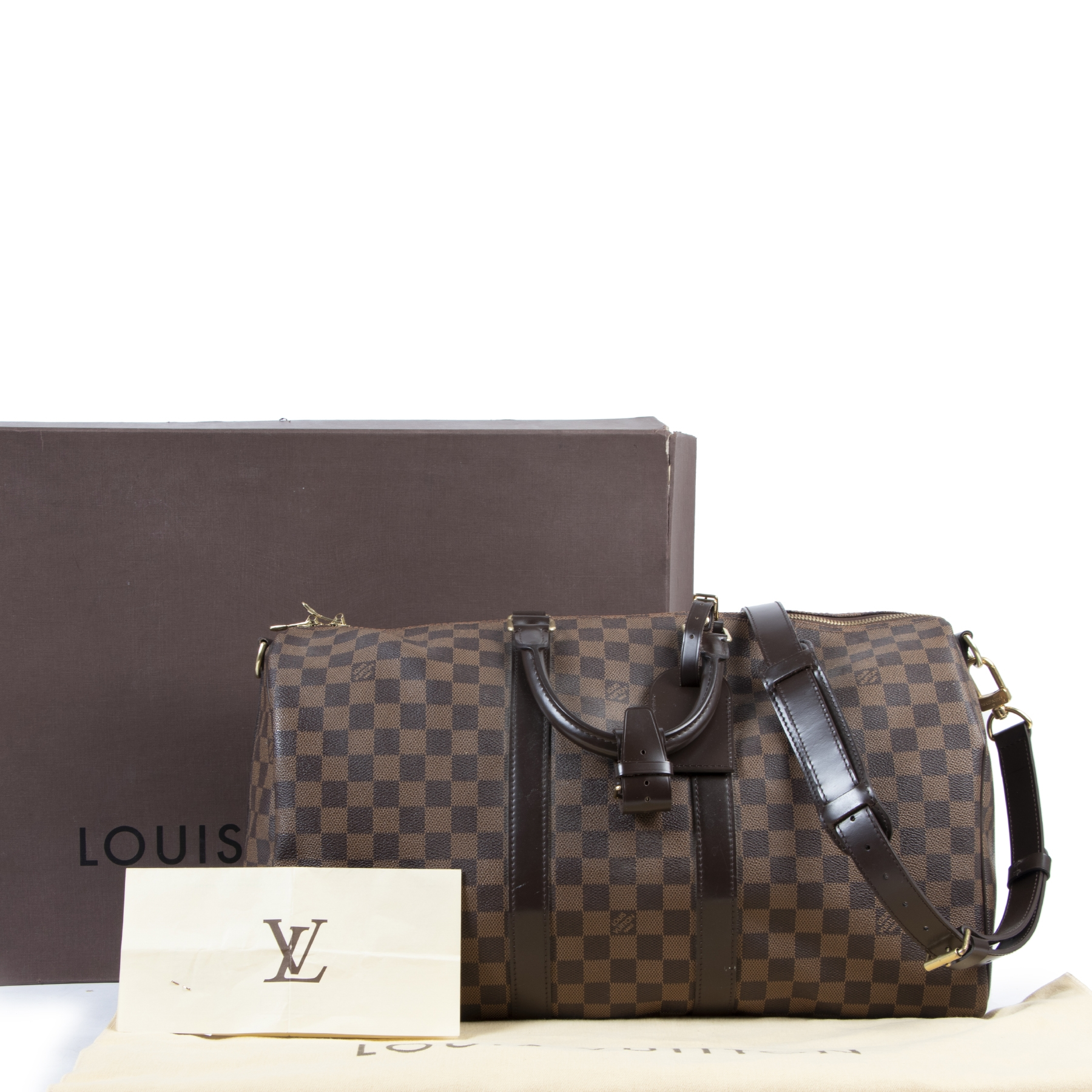 Authentic second-hand vintage Louis Vuitton Damier Ebene Keepall 45 Bag buy online webshop LabelLOV