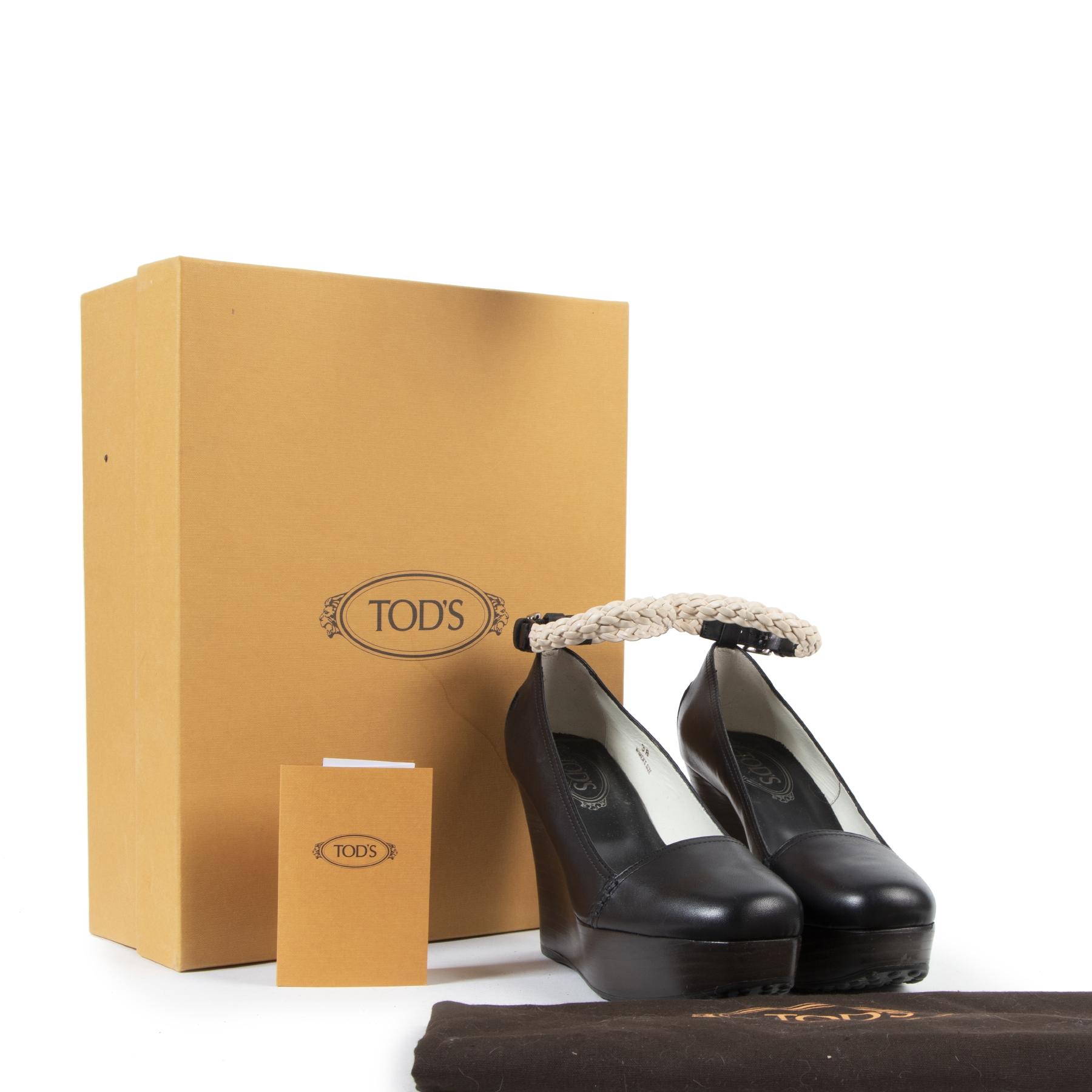Authentieke tweedehands vintage Tods Black Wedge Heels - Size 38 koop online webshop LabelLOV
