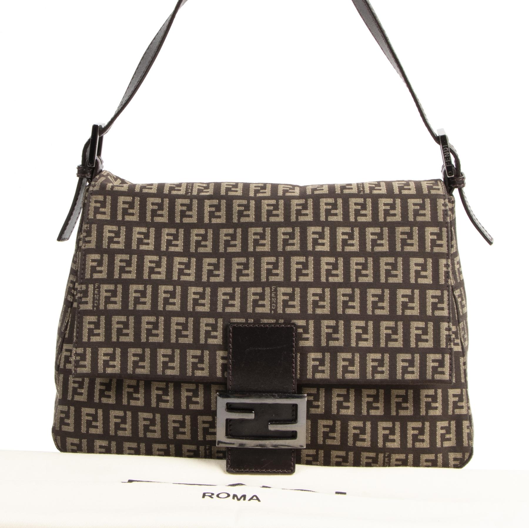 Authentic secondhand Fendi Zucca Baguette Bag designer bags fashion luxury vintage webshop safe secure online shopping