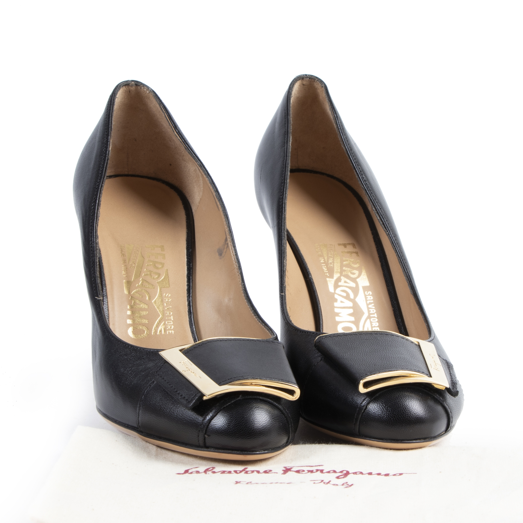 Authentic secondhand Salvatore Ferragamo Black Heels - Size 36,5 designer shoes fashion luxury vintage webshop safe secure online shopping