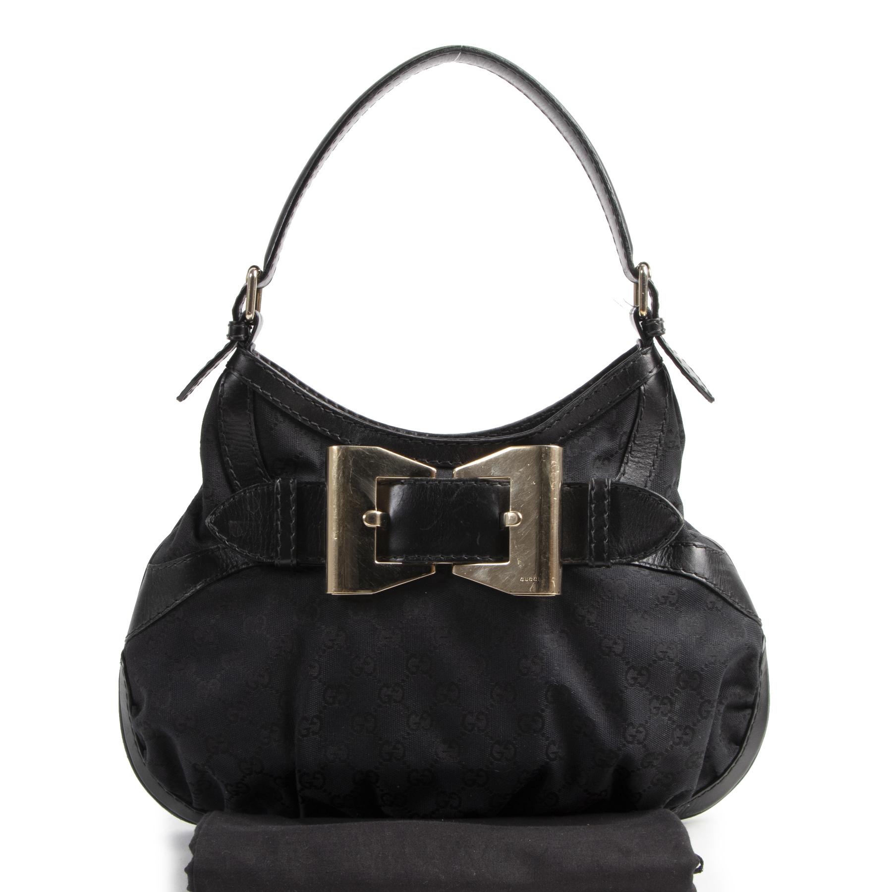 Authentic secondhand Gucci Black Queen Hobo Shoulder Bag designer bags fashion luxury vintage webshop safe secure online shopping