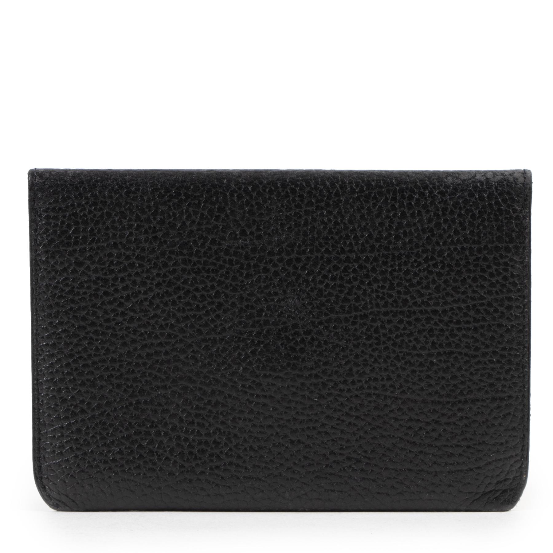 Authentieke Tweedehands Delvaux Black Small Leather Wallet juiste prijs veilig online shoppen luxe merken webshop winkelen Antwerpen België mode fashion