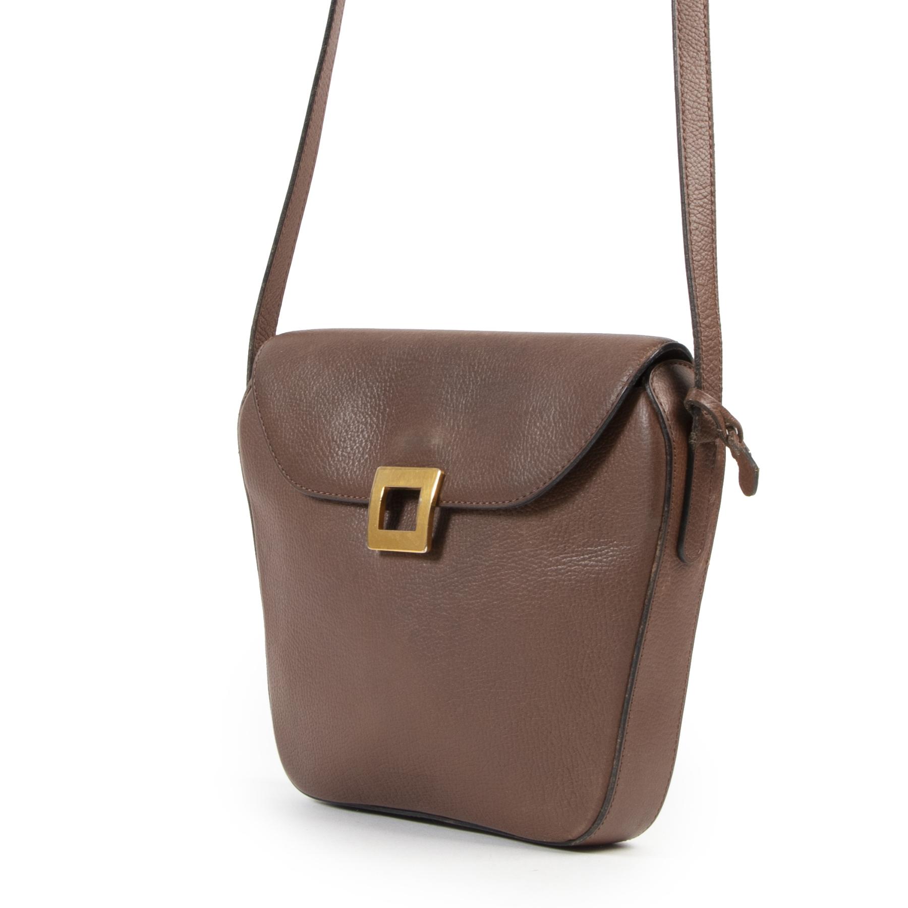 Authentieke Tweedehands Delvaux Brown Square Crossbody Bag juiste prijs veilig online shoppen luxe merken webshop winkelen Antwerpen België mode fashion