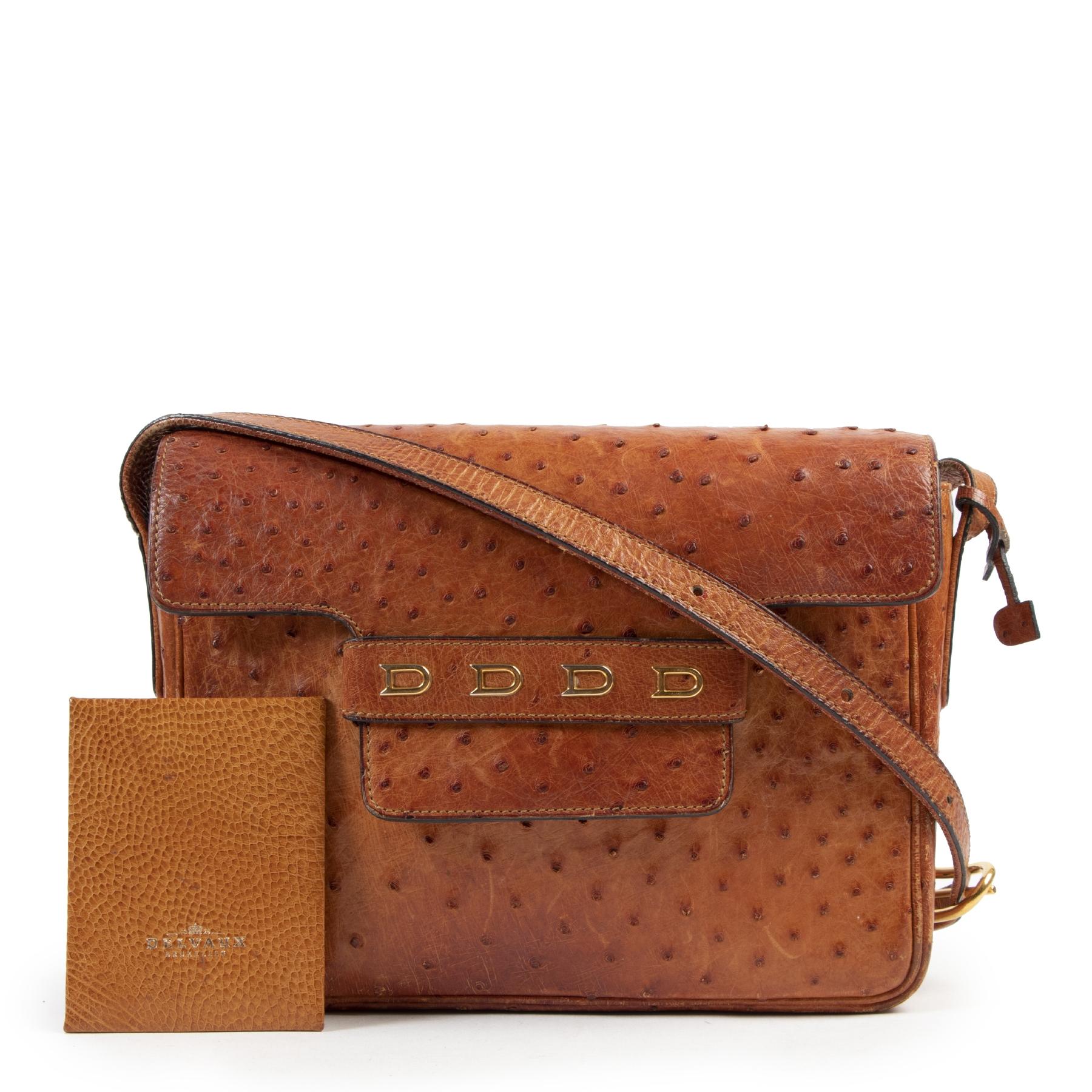 Authentieke Tweedehands Delvaux Cognac Ostrich Leather Crossbody Bag juiste prijs veilig online shoppen luxe merken webshop winkelen Antwerpen België mode fashion