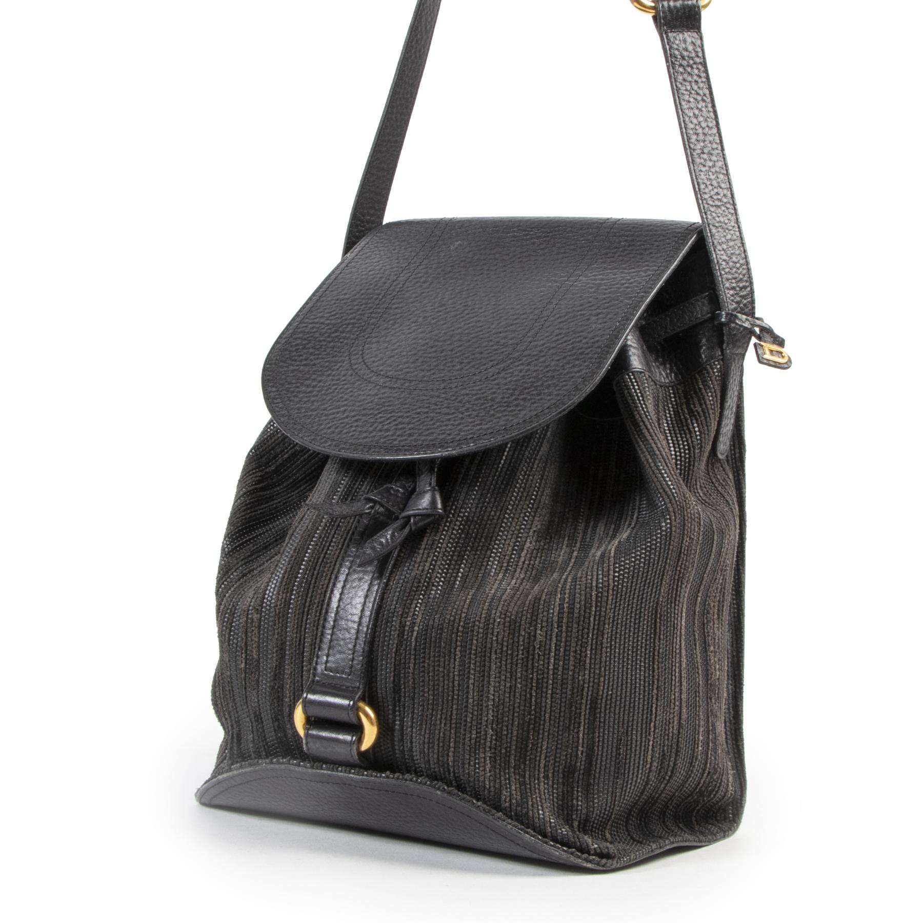 Authentieke Tweedehands Delvaux Black Toile de Cuir Crossbody Bag juiste prijs veilig online shoppen luxe merken webshop winkelen Antwerpen België mode fashion
