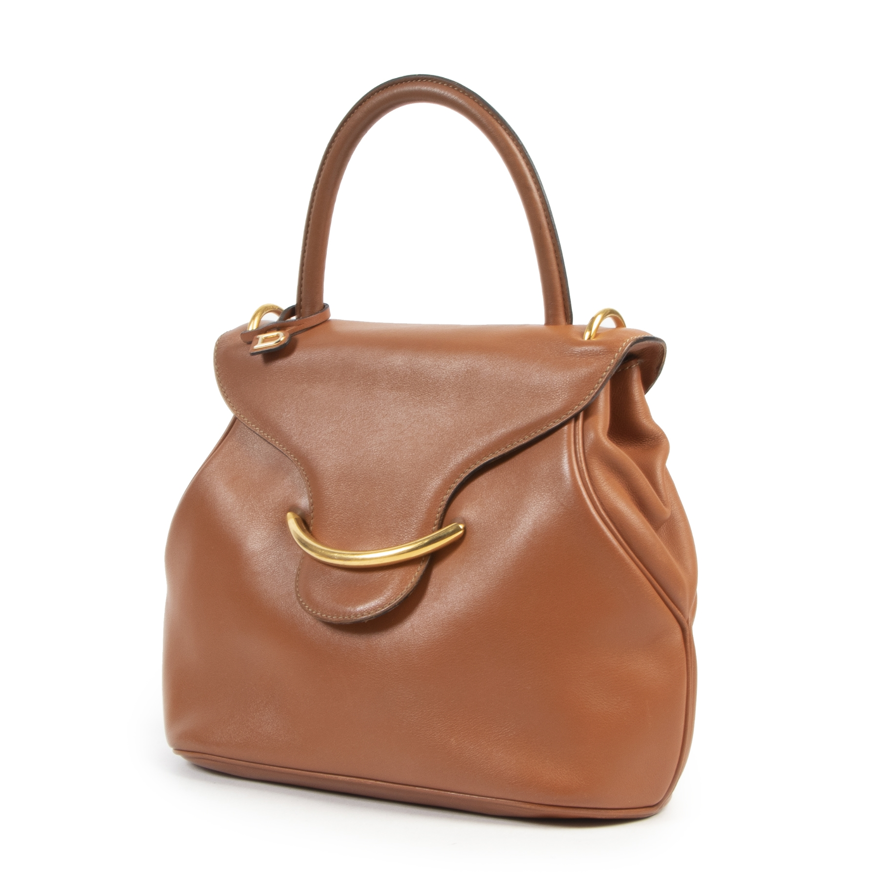Delvaux Cognac Baltimore Top Handle Bag