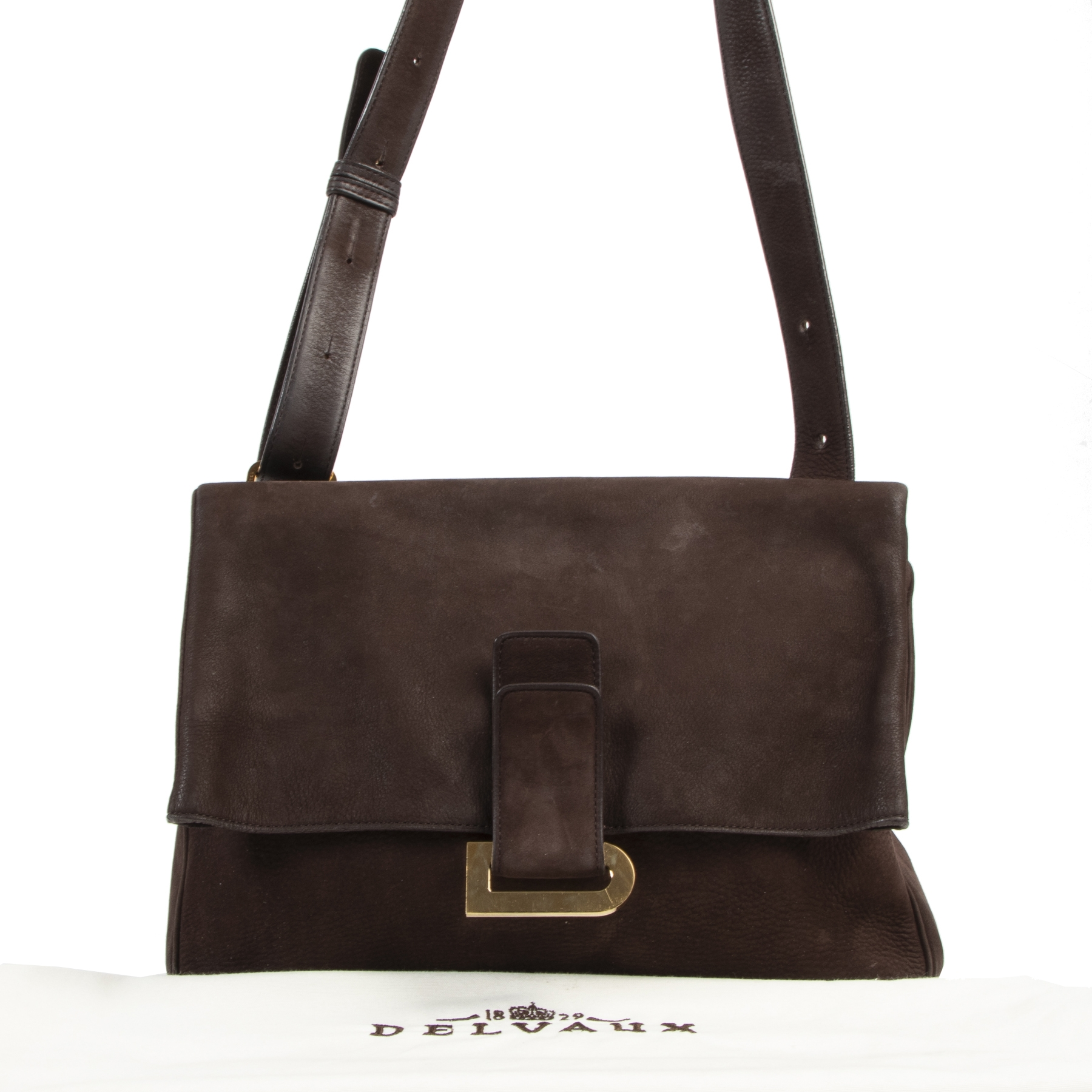 Delvaux Brown Nubuck Passerelle Shoulder Bag