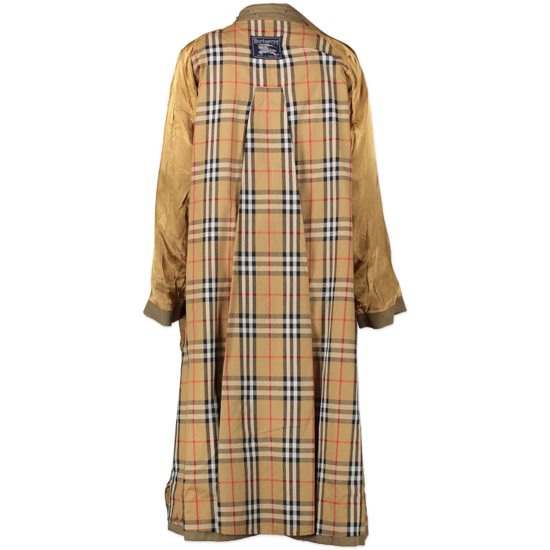 Authentic secondhand Burberry Beige The Kensington Check Trench Coat designer clothes designer high end brands fashion luxury vintage webshop safe secure online shopping