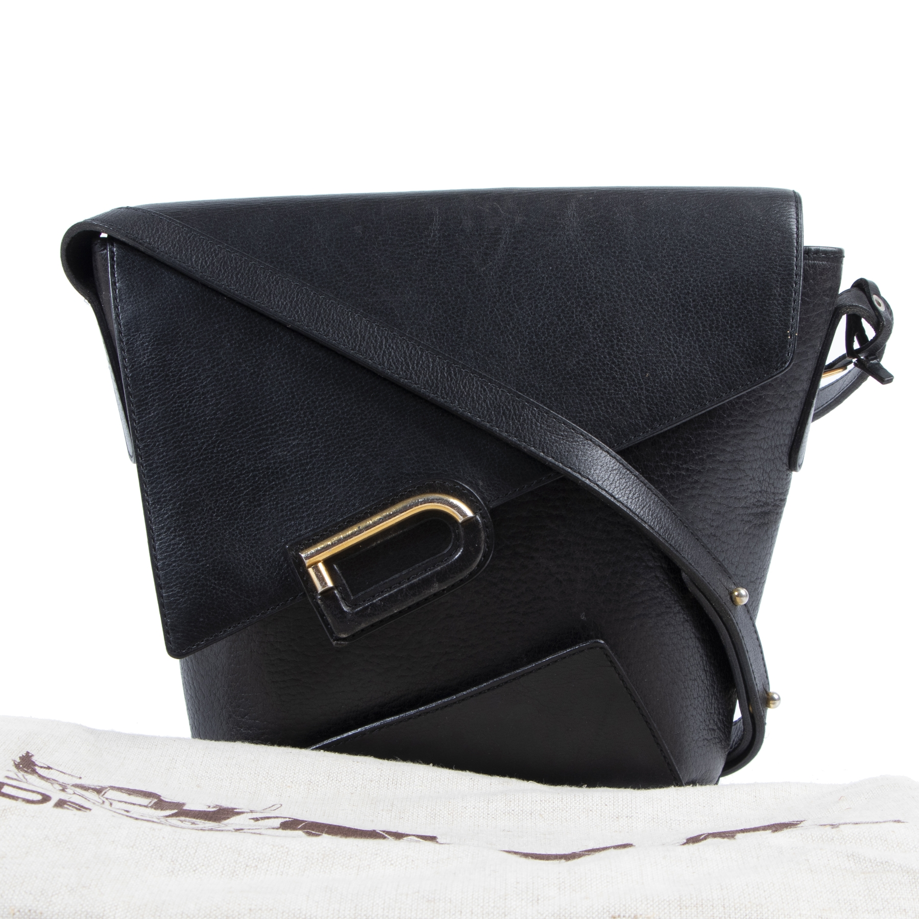 Delvaux Black Leather D Crossbody Bag