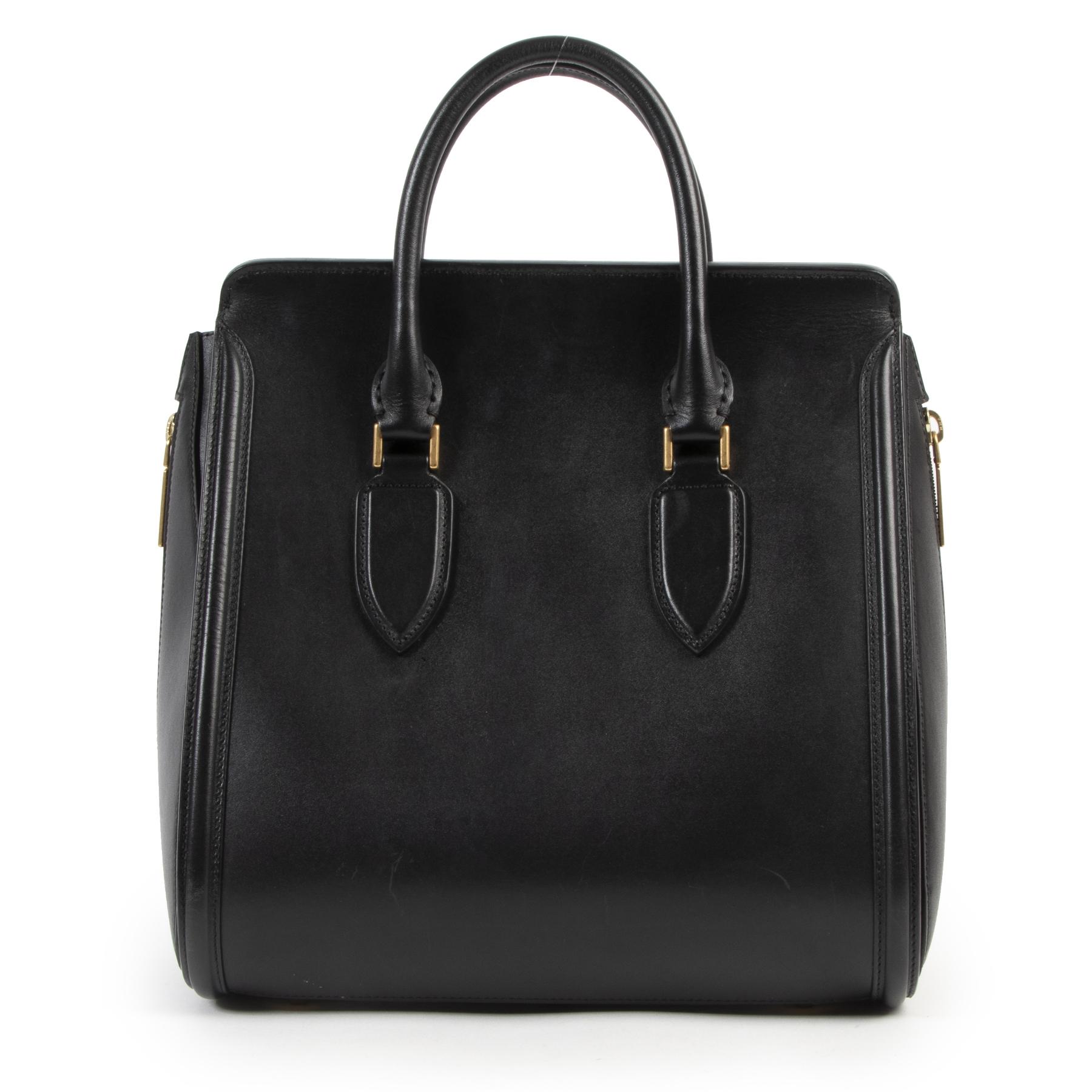 Authentieke Tweedehands Alexander McQueen Black Heroine Tote Bag juiste prijs veilig online shoppen luxe merken webshop winkelen Antwerpen België mode fashion