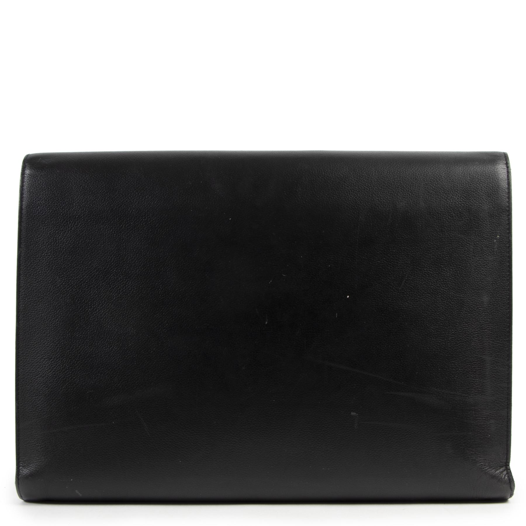 Authentieke Tweedehands Delvaux Black Briefcase juiste prijs veilig online shoppen luxe merken webshop winkelen Antwerpen België mode fashion