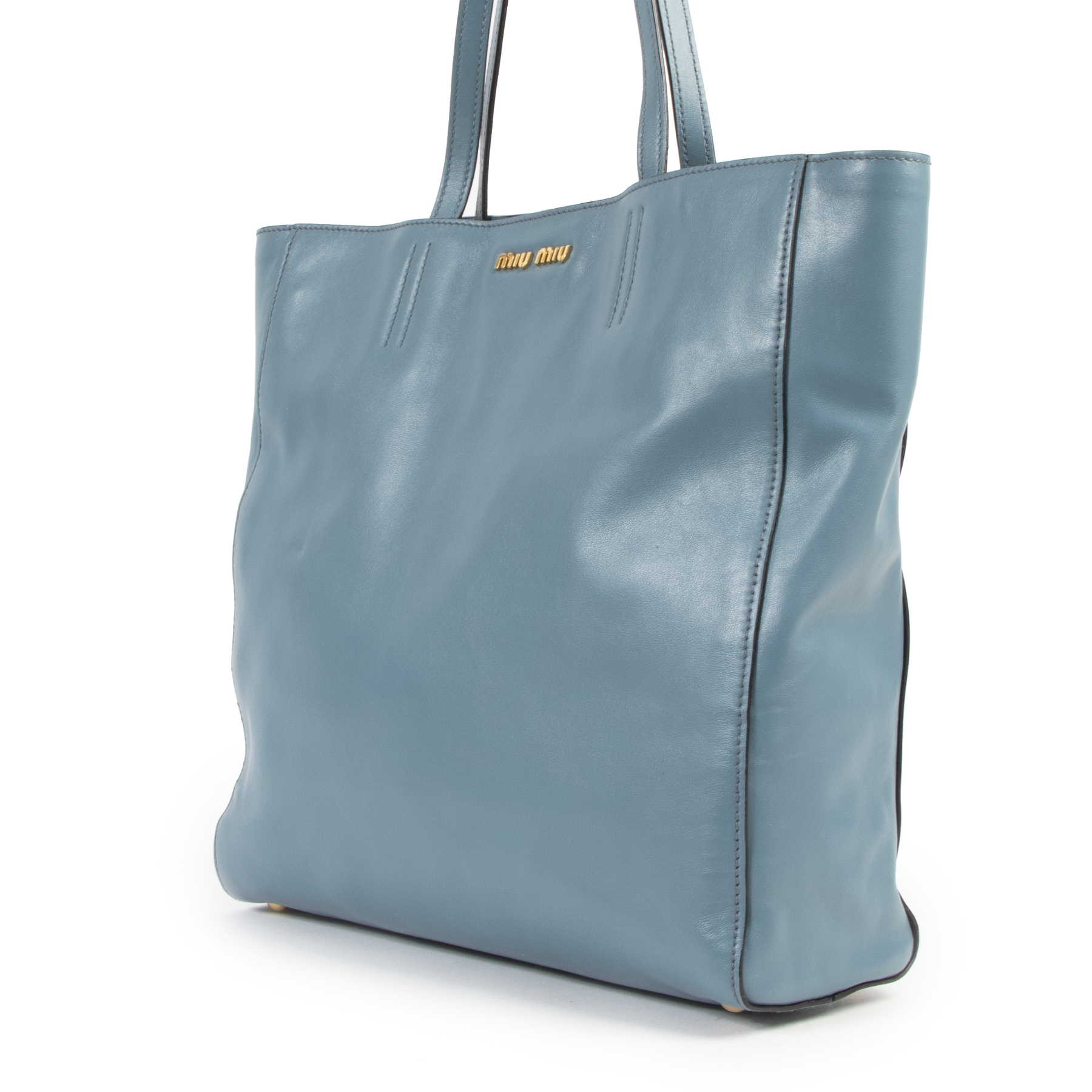 Miu Miu Pigeon Blue Leather Tote Bag