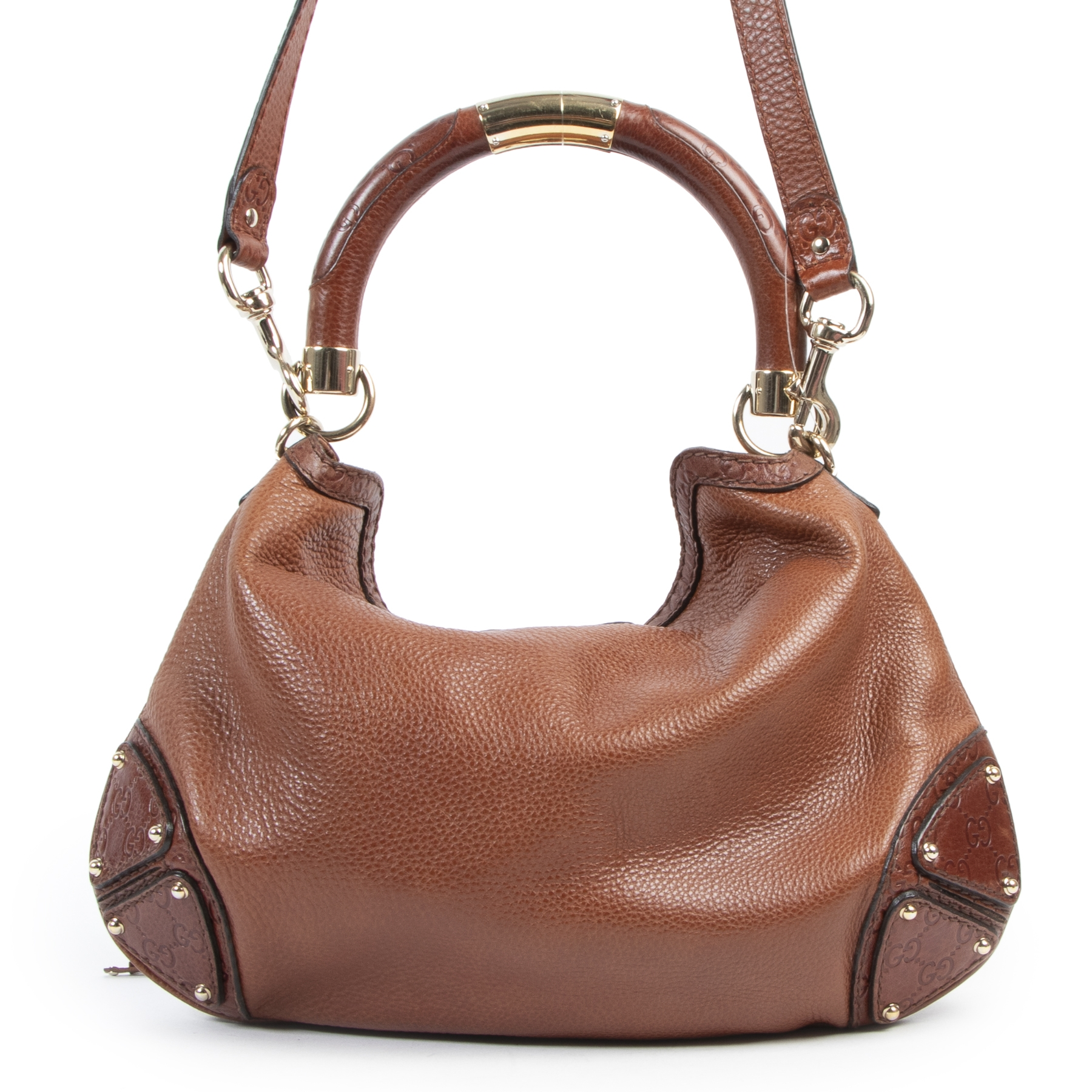 Authentieke Tweedehands Gucci Brown Leather Babouska Indy Bag juiste prijs veilig online shoppen luxe merken webshop winkelen Antwerpen België mode fashion
