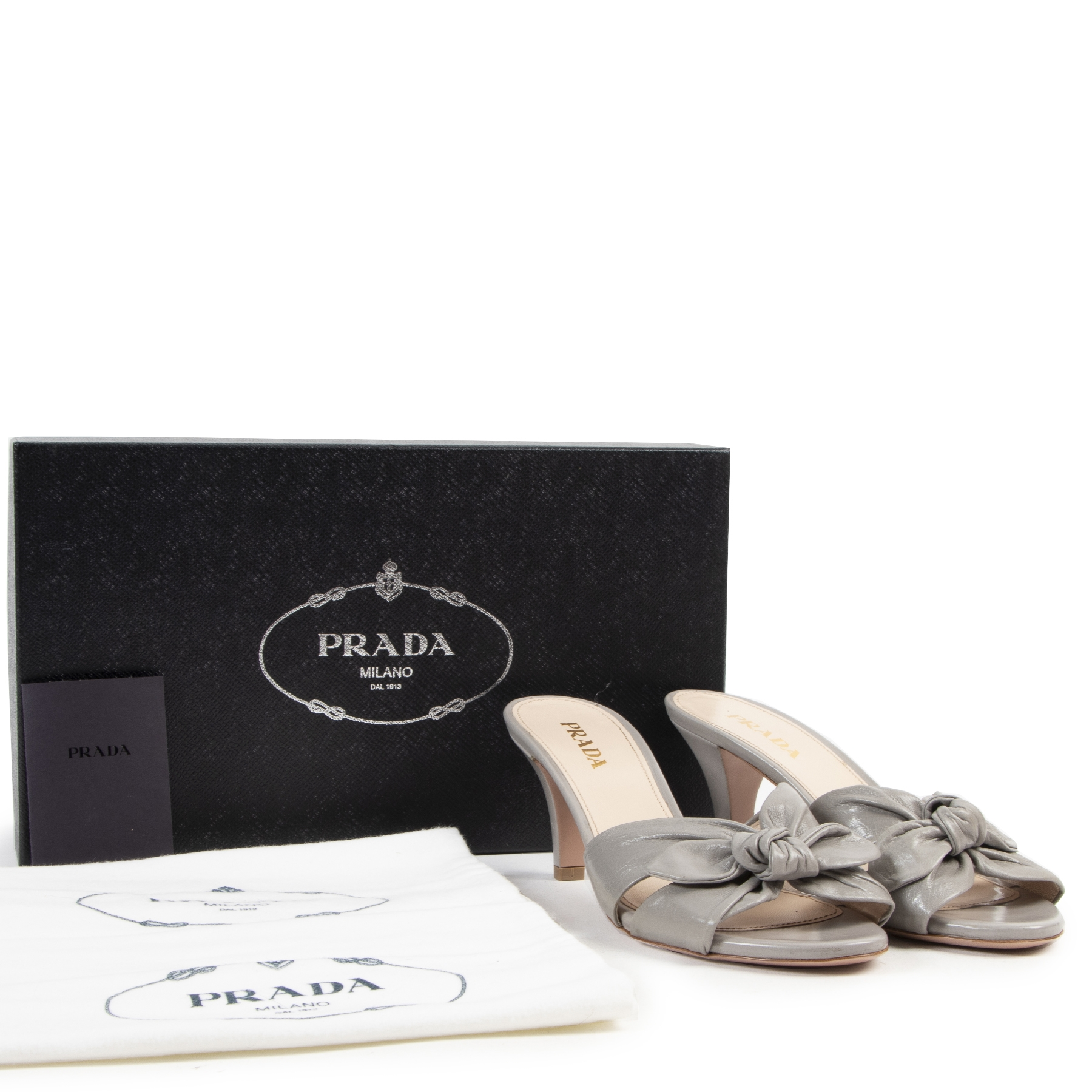 Authentic secondhand Prada Grey Ribbon Mules - Size 37,5 designer shoes fashion luxury vintage webshop safe secure online shopping