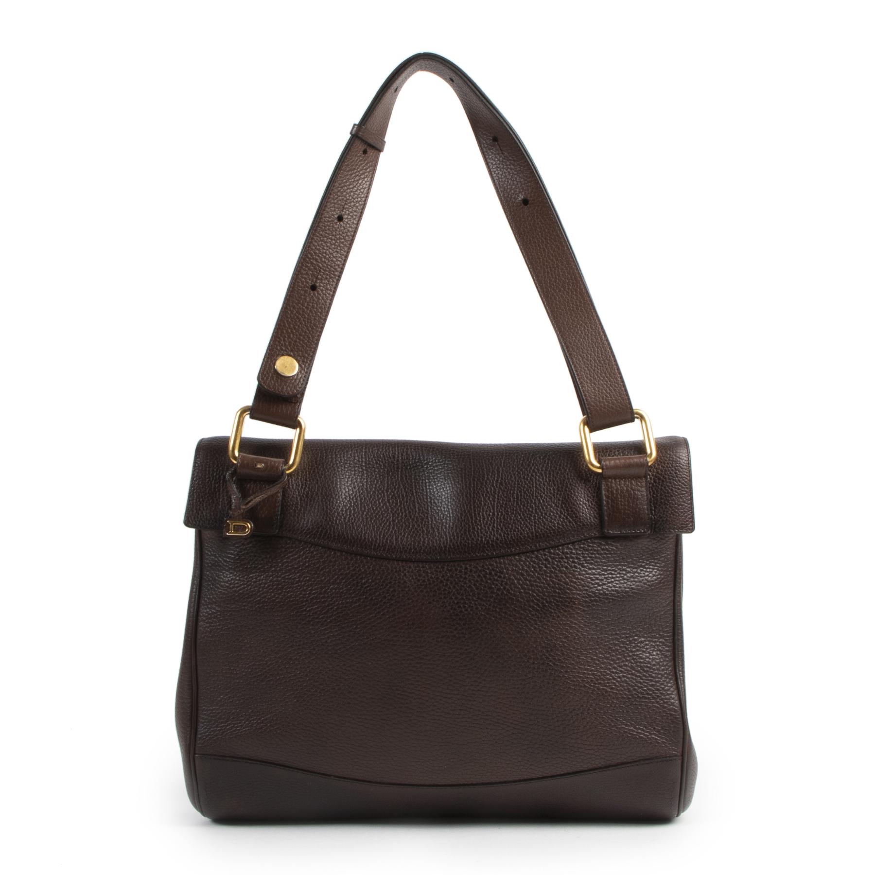 Authentieke Tweedehands Delvaux Brown Leather Shoulder Bag juiste prijs veilig online shoppen luxe merken webshop winkelen Antwerpen België mode fashion