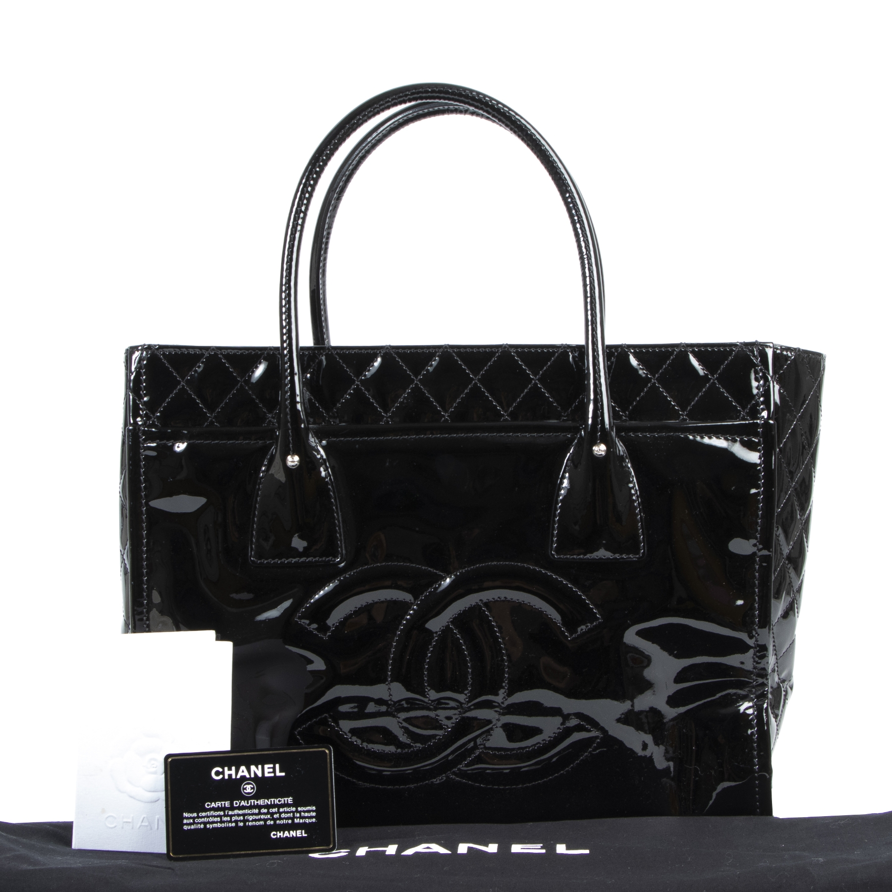 Chanel Patent Top Handle Shopping Tote acheter en ligne seconde main Chanel Patent Top Handle Shopping Tote