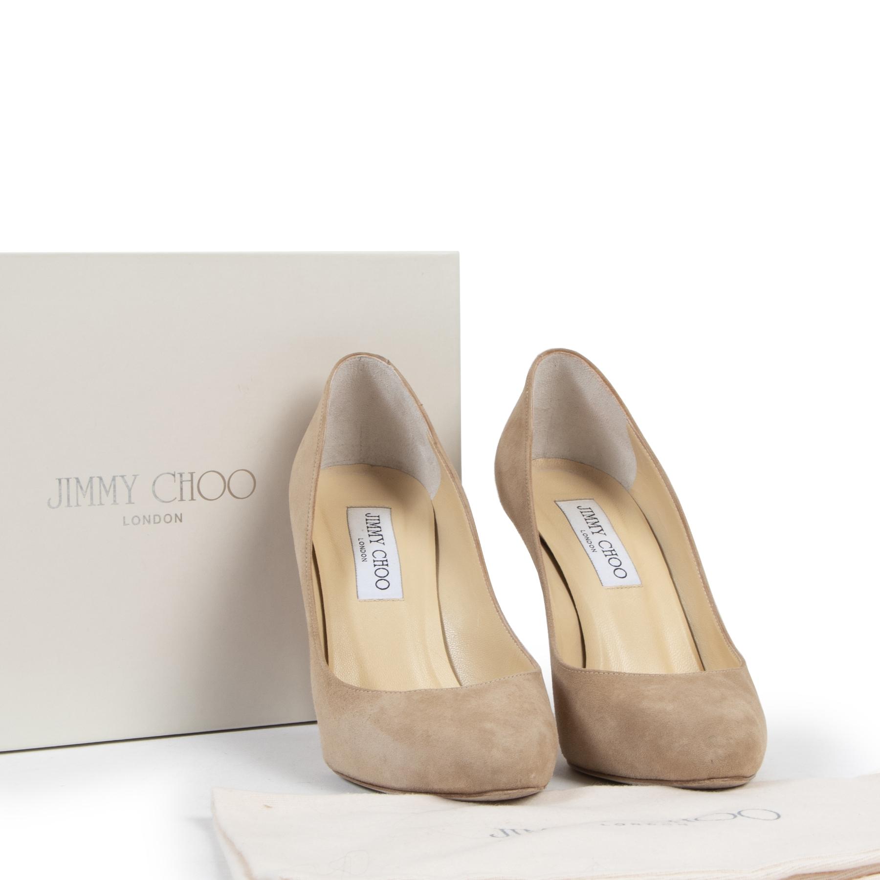 Jimmy Choo Beige Suede Heels - Size 37